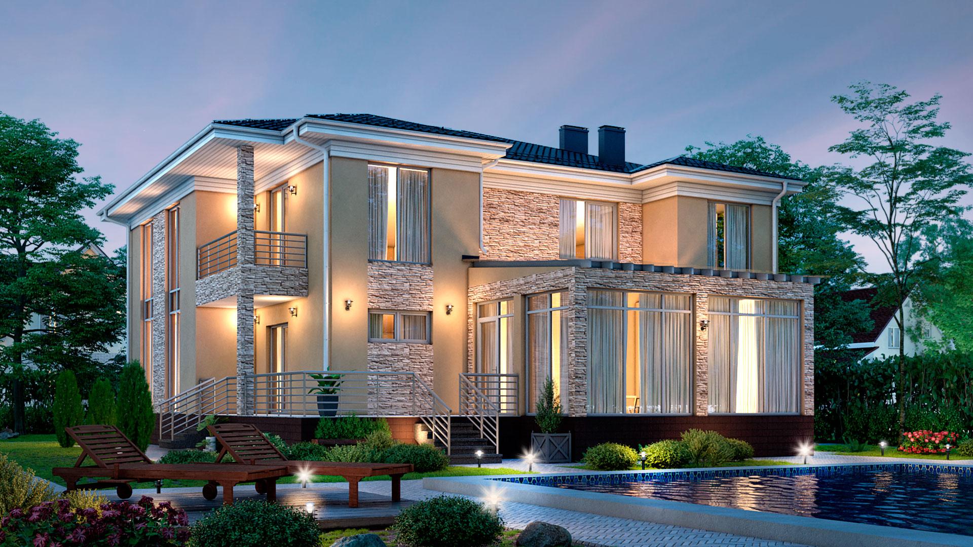 Вечернее фото загородного дома с большими окнами, проект БЭНПАН БП-338.