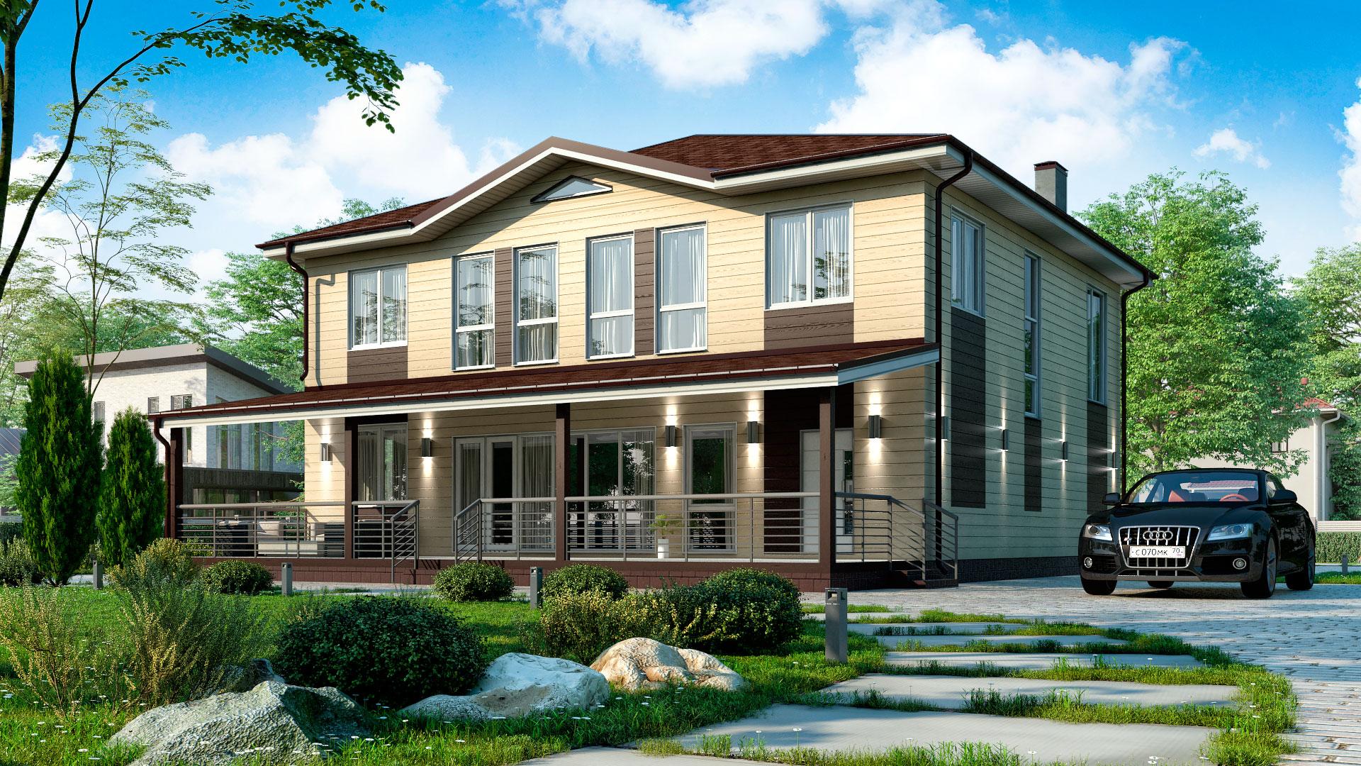 Передний фасад двухэтажного дома с панорамным остеклением, проект БЭНПАН БП-347.
