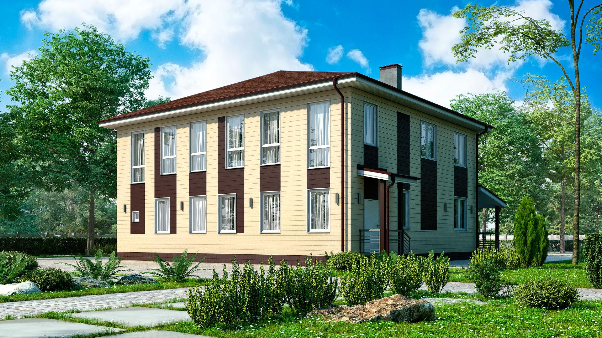 Задний фасад двухэтажного дома с панорамным остеклением, проект БЭНПАН БП-347.