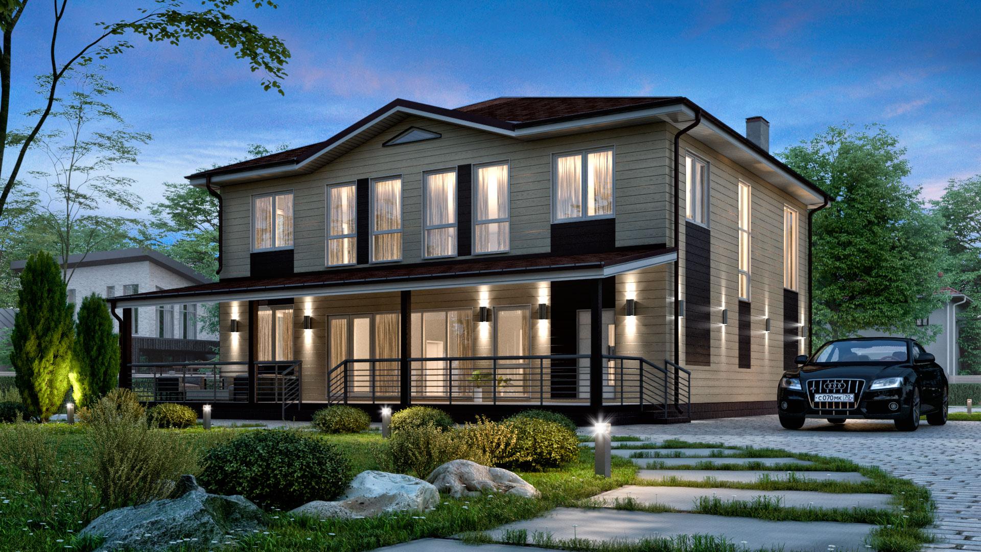 Вечернее фото двухэтажного дома с панорамным остеклением, проект БЭНПАН БП-347.