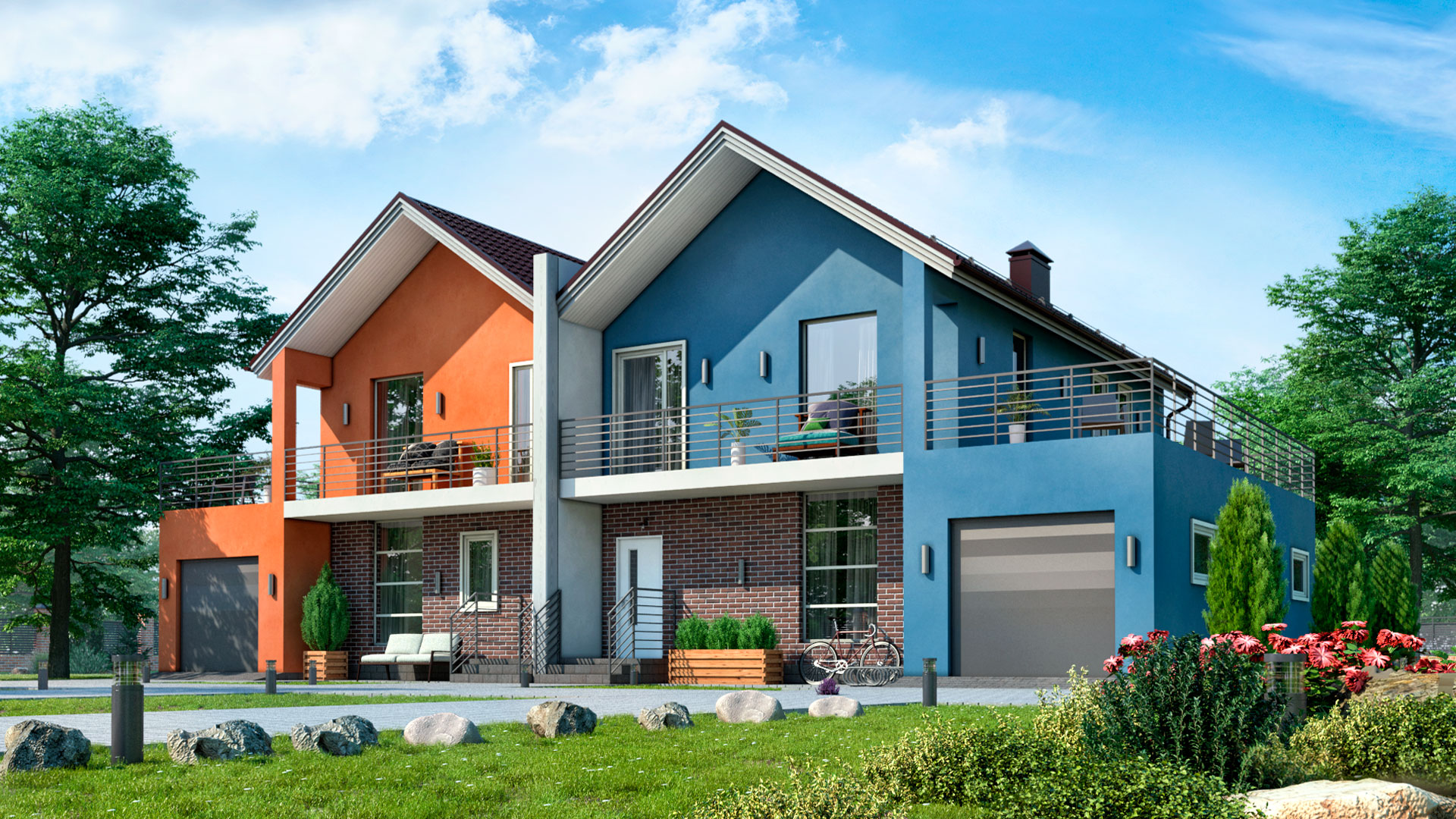 Строительство двухэтажного дома с гаражами и террасами жилой площадью 195,35 м2. Проект БЭНПАН-391