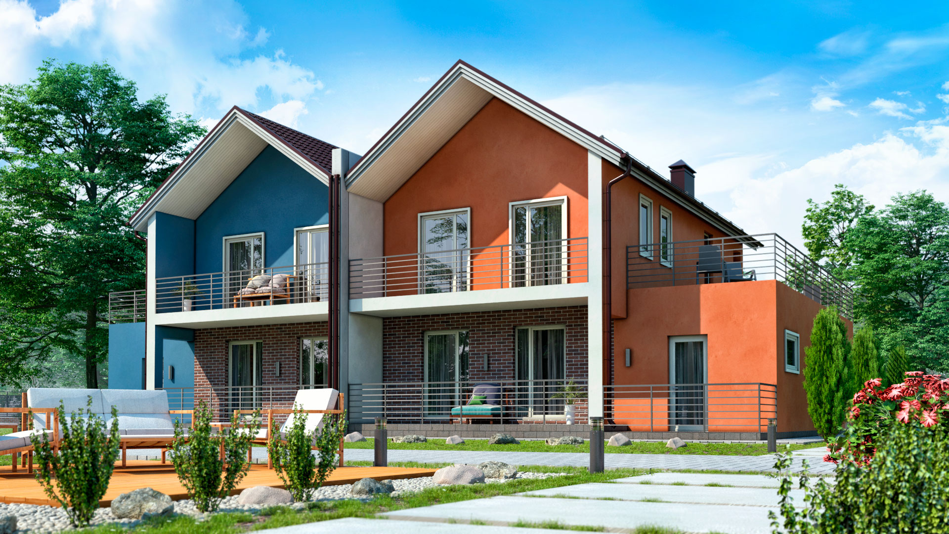 Загородный двухэтажный дом с гаражами и террасами под ключ, 195,35 квадратных метра, 5  комнат. Проект БЭНПАН-391.
