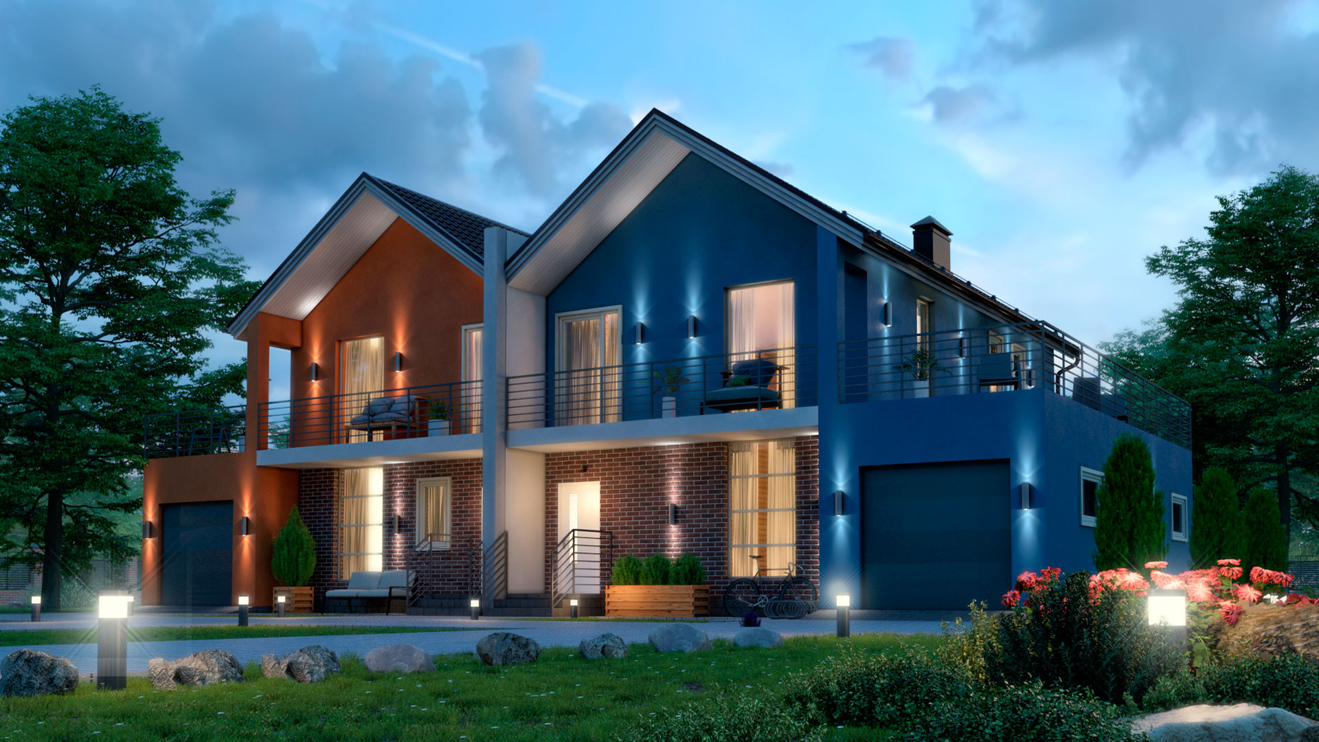 Фото двухэтажного дома с гаражами и террасами 195,35 м2, этажа 2, комнат 5, проект БЭНПАН-391.