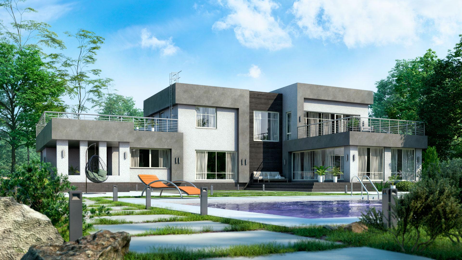 Задний фасад двухэтажного дома с плоской крышей, 447,40 м2. Проект БЭНПАН-605.