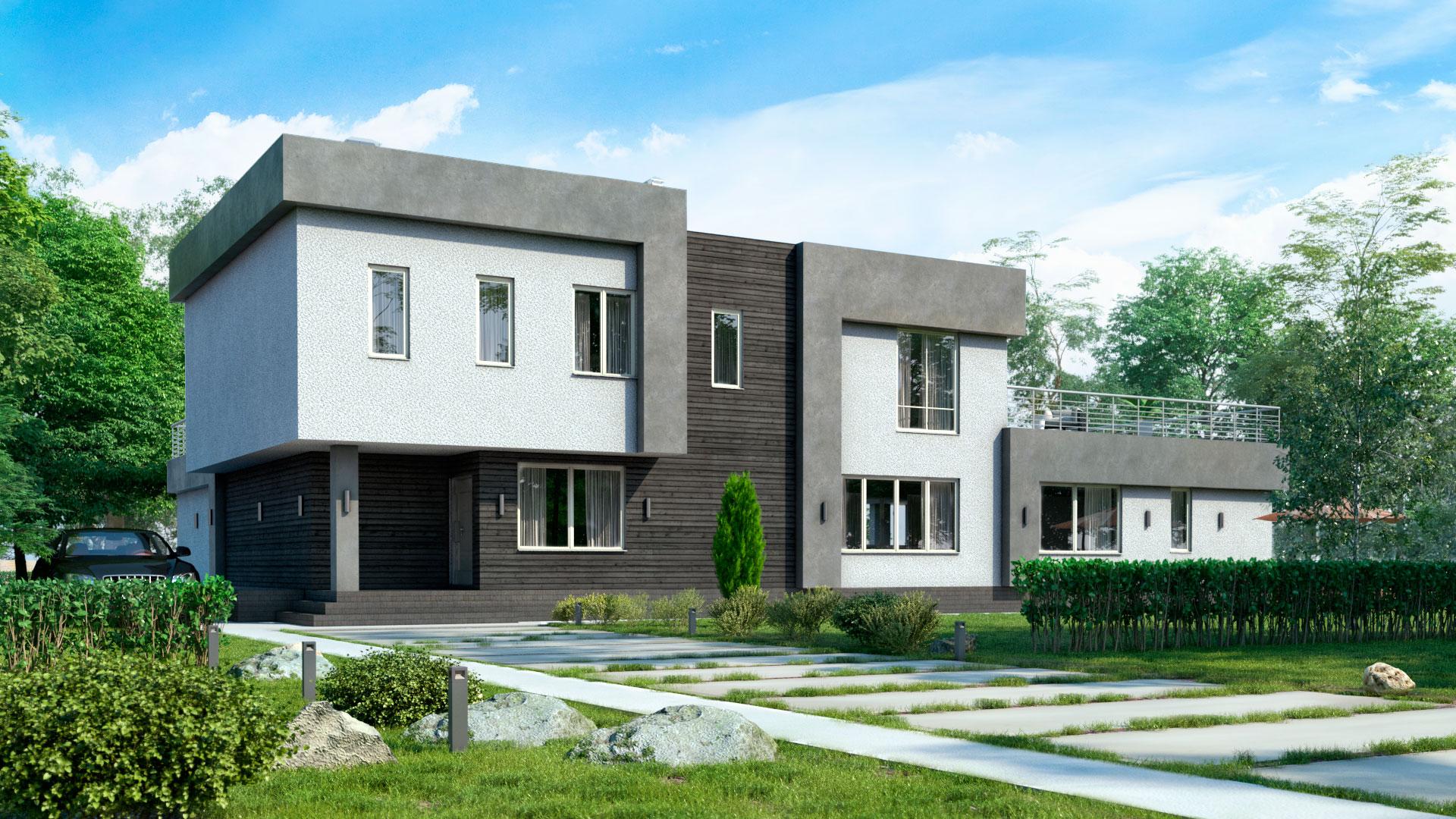 Передний фасад двухэтажного дома с плоской эксплуатируемой крышей, 447,40 м2. Проект БЭНПАН-605.