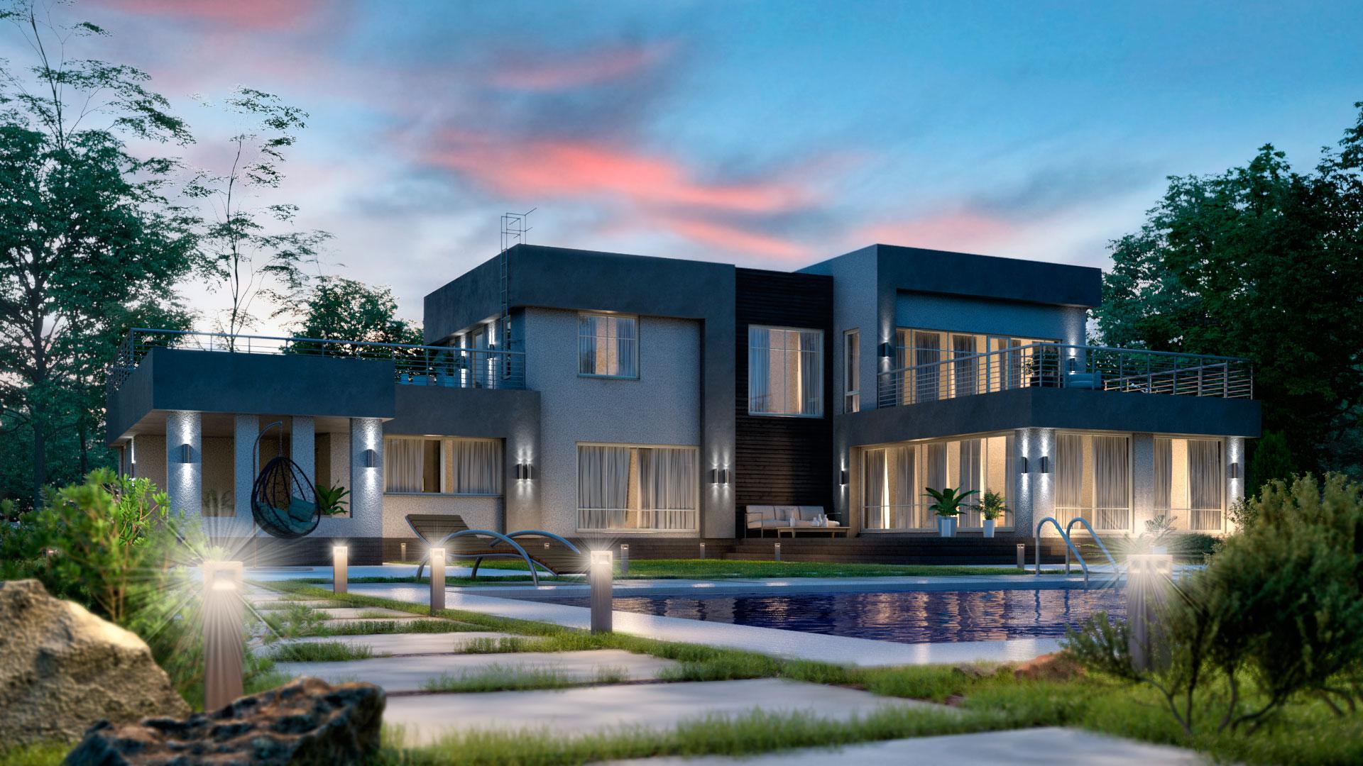 Вечернее фото двухэтажного дома с плоской крышей, цокольным этажем и бассейном. Проект БЭНПАН-605.