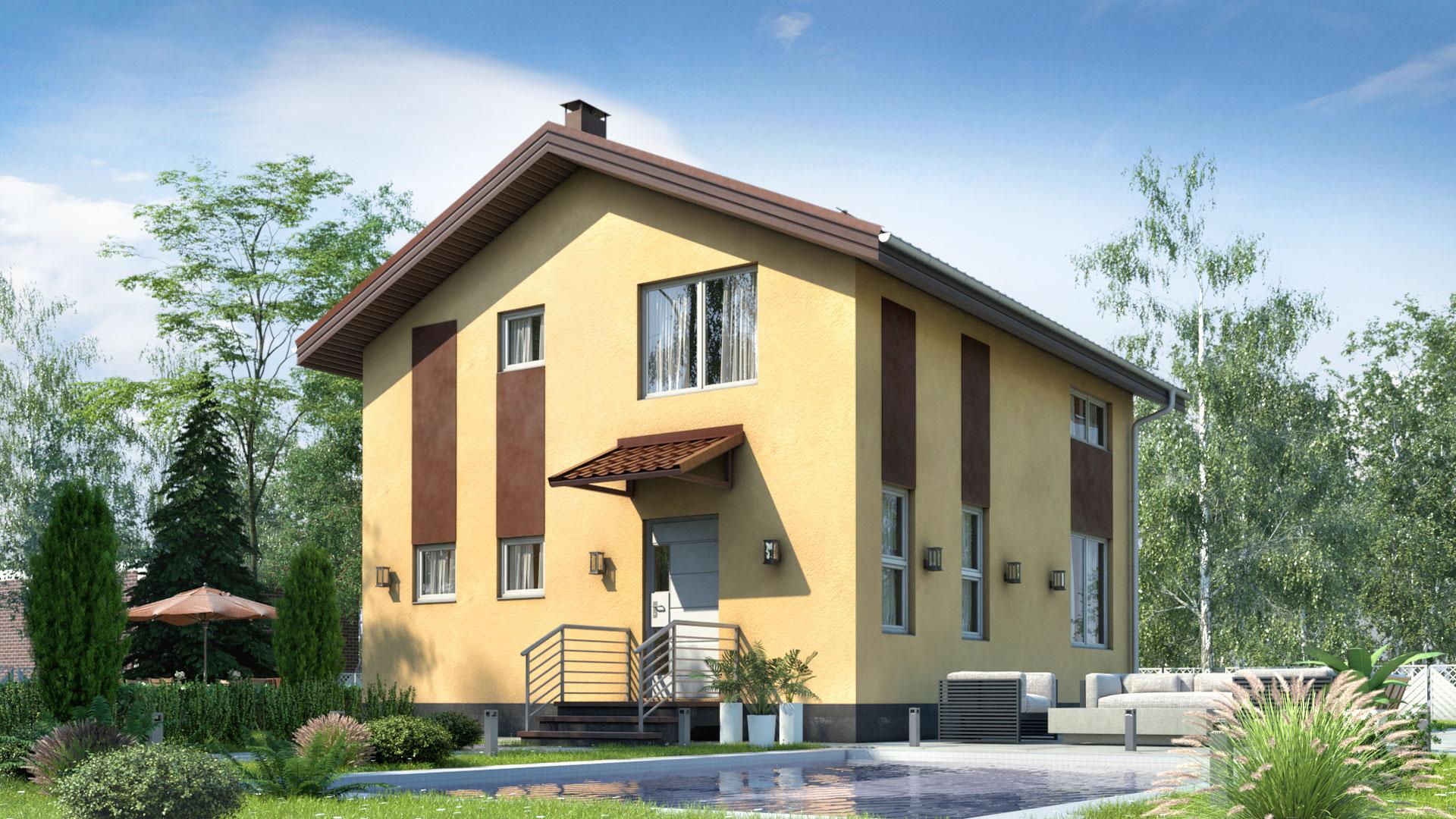 Передний фасад дома в 100 кв. м.. Проект БП-97/2.