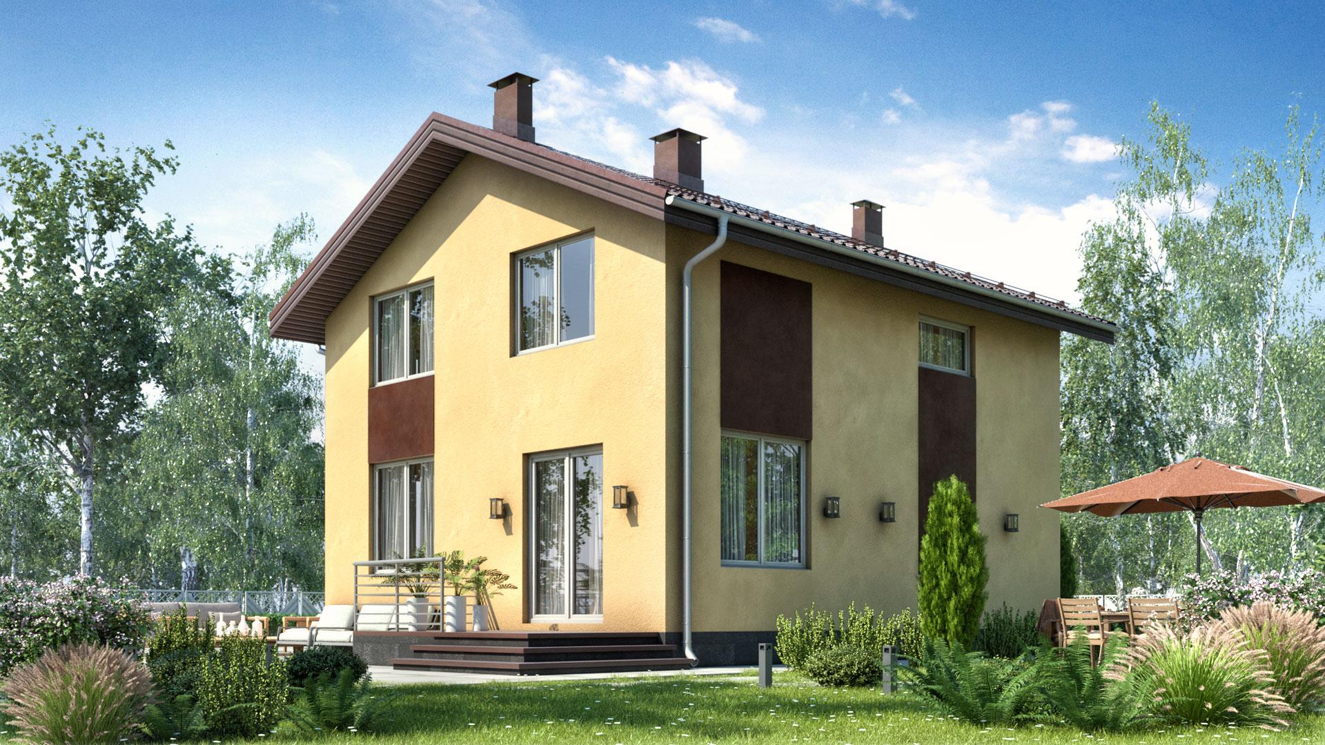 Задний фасад дома   в 100 кв. м.. Проект БП-97/2.