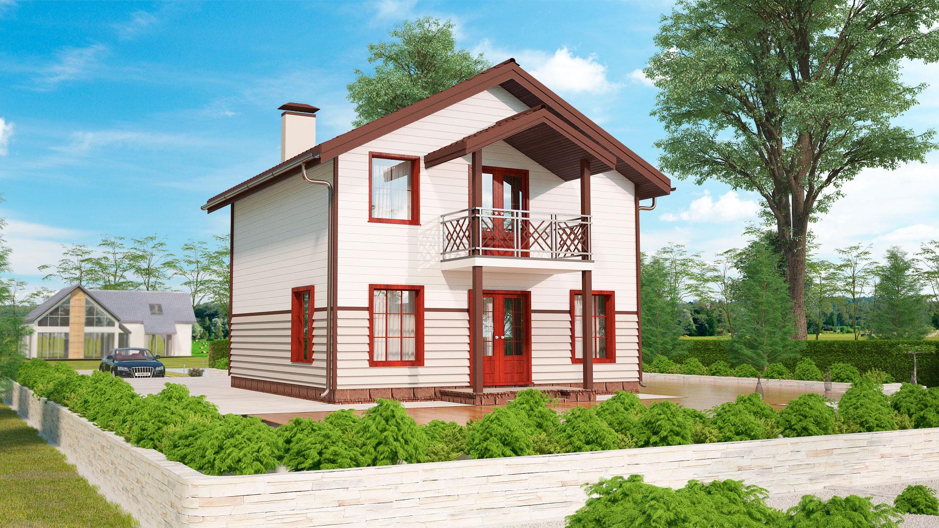 Задний фасад дома 8 на 8 двухэтажного, проект БЭНПАН МС-108.