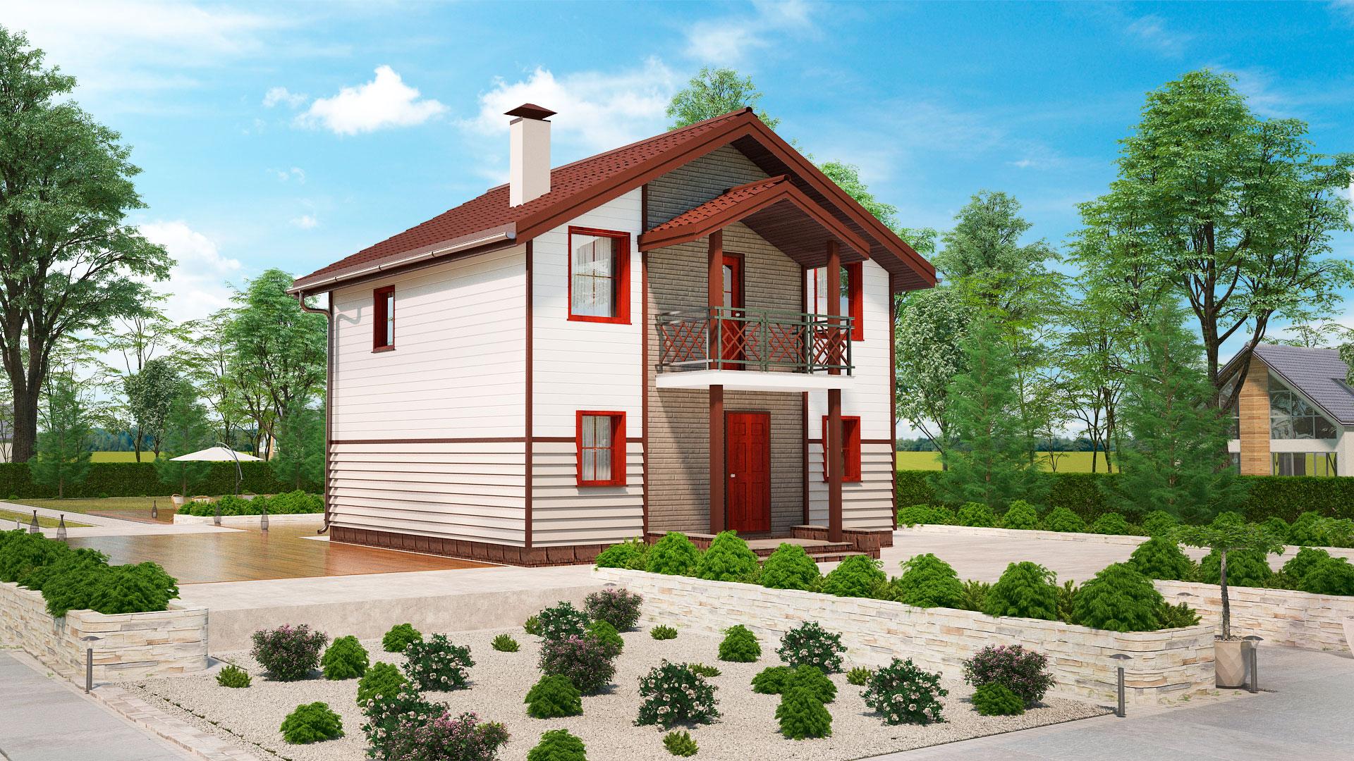 Передний фасад дома 8 на 8 двухэтажного, проект БЭНПАН МС-108.