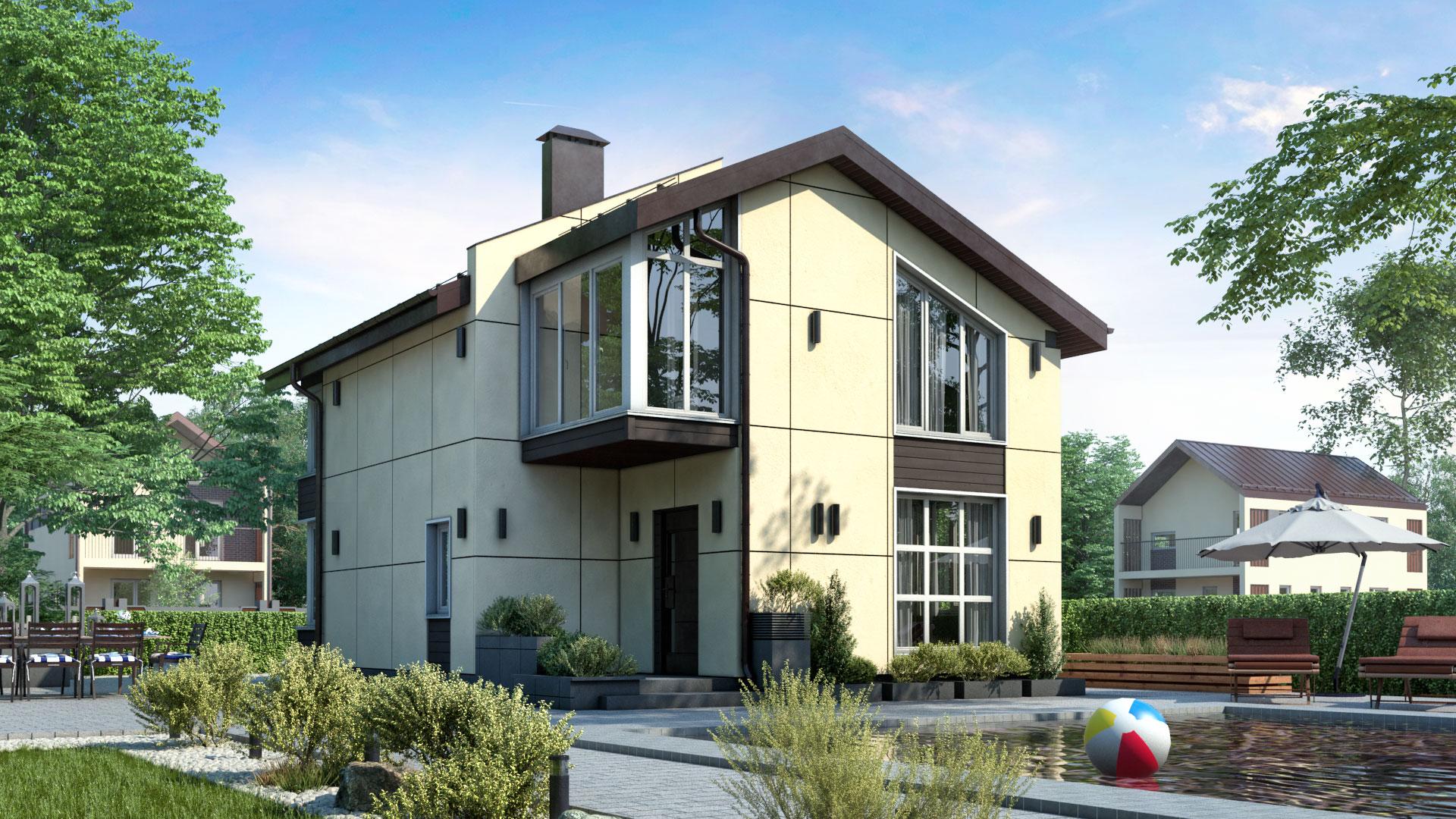 Передний фасад двухэтажного дома БЭНПАН, проект МС-112/1.