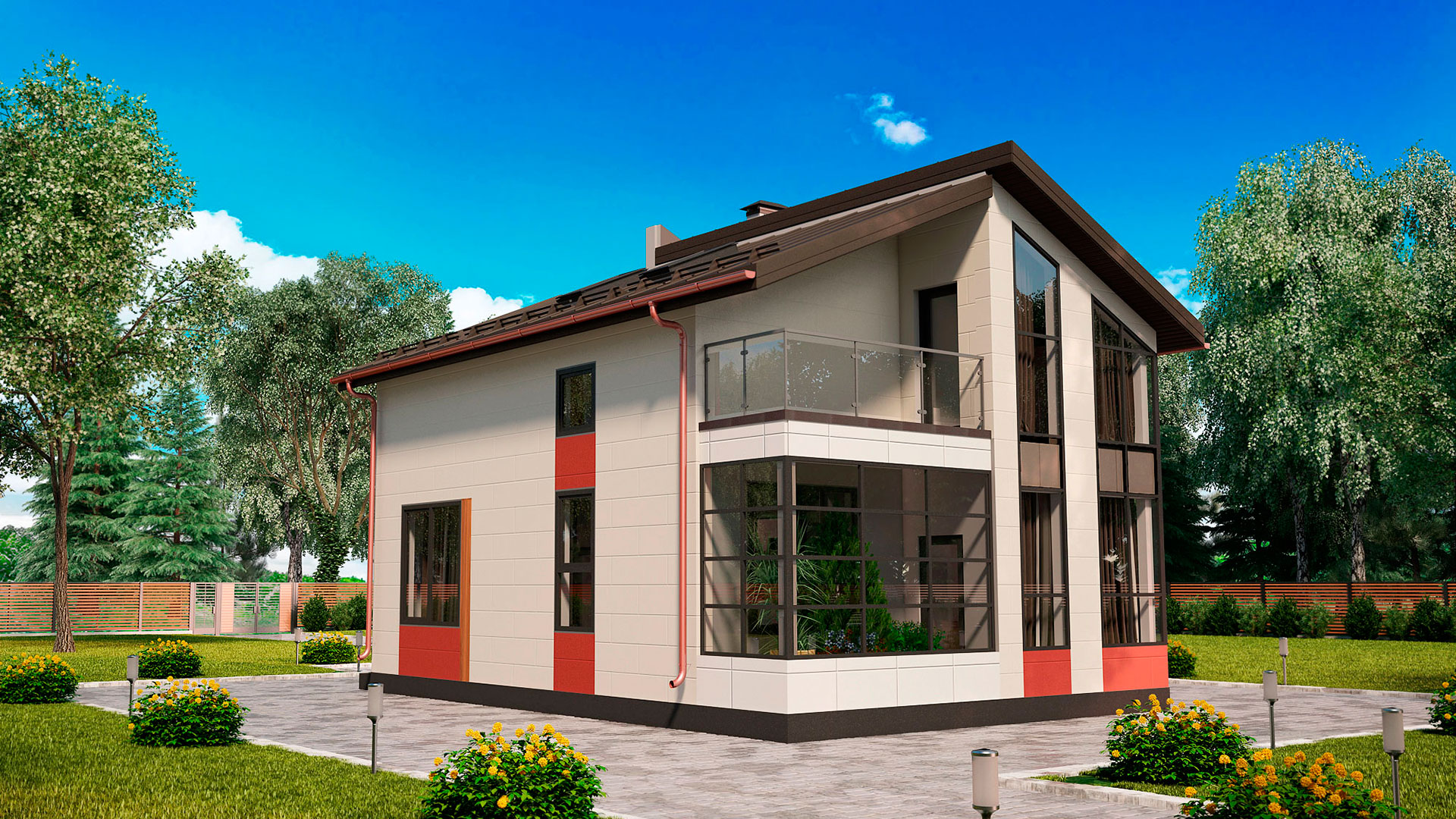 Задний фасад дома 7 на 10 двухэтажного, проект БЭНПАН МС-112.