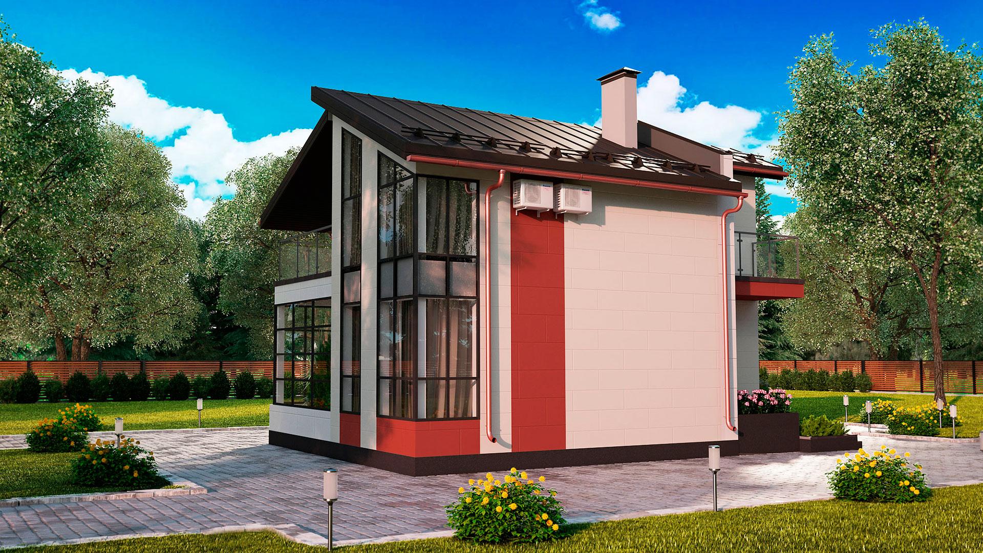 Боковой фасад дома 7 на 10 двухэтажного, проект БЭНПАН МС-112.