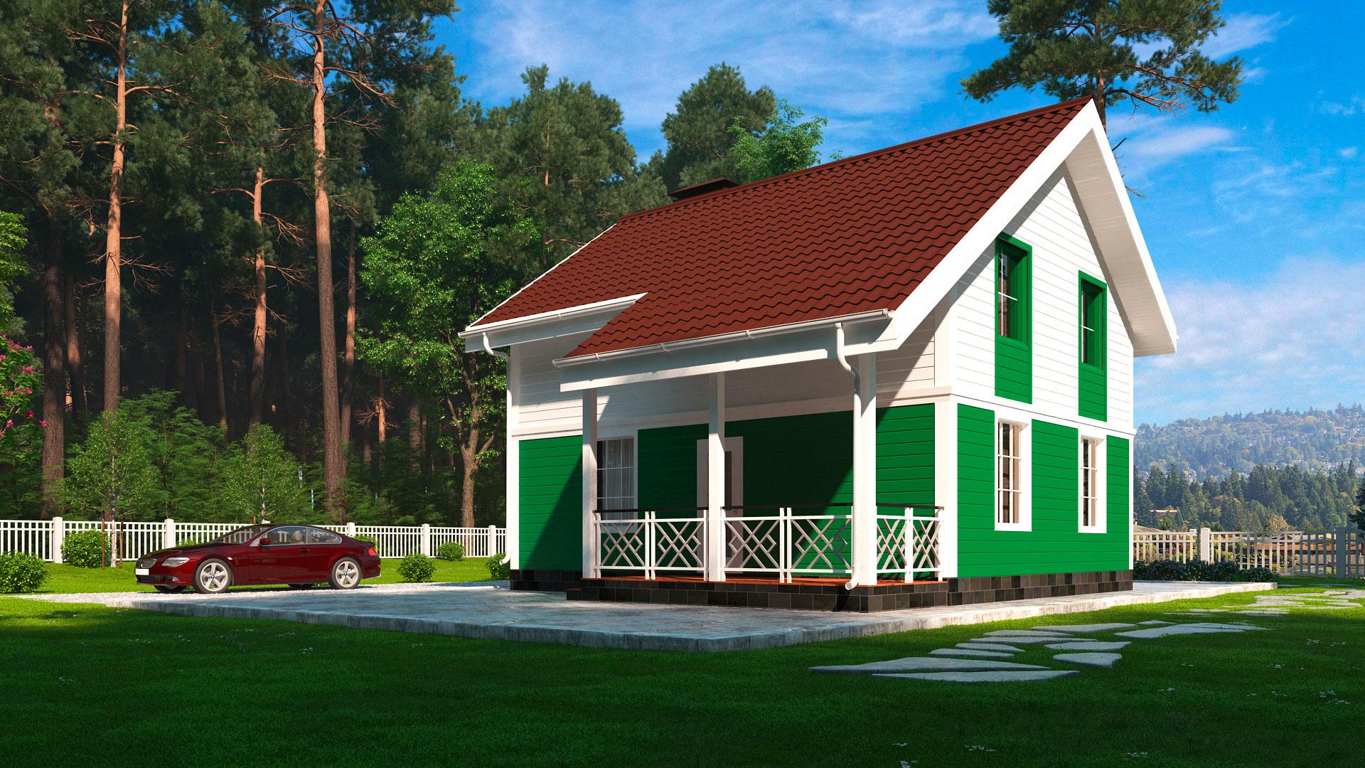 Передний фасад двухэтажного загородного мансардного дома БЭНПАН, проект МС-117.