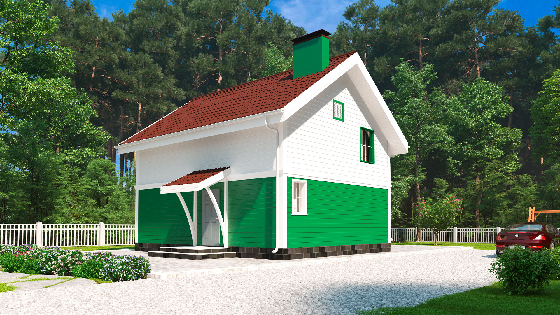 Боковой фасад двухэтажного загородного мансардного дома БЭНПАН, проект МС-117.
