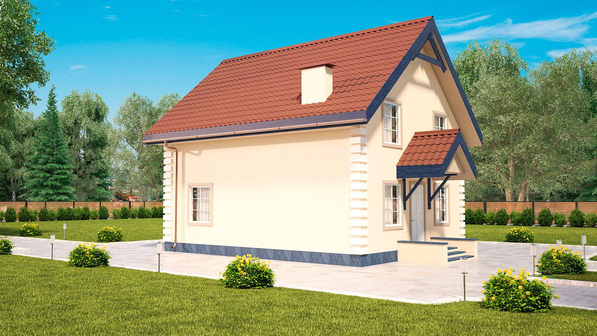 Передний и боковой фасады двухэтажного мансардного дома, проект БЭНПАН МС-121.