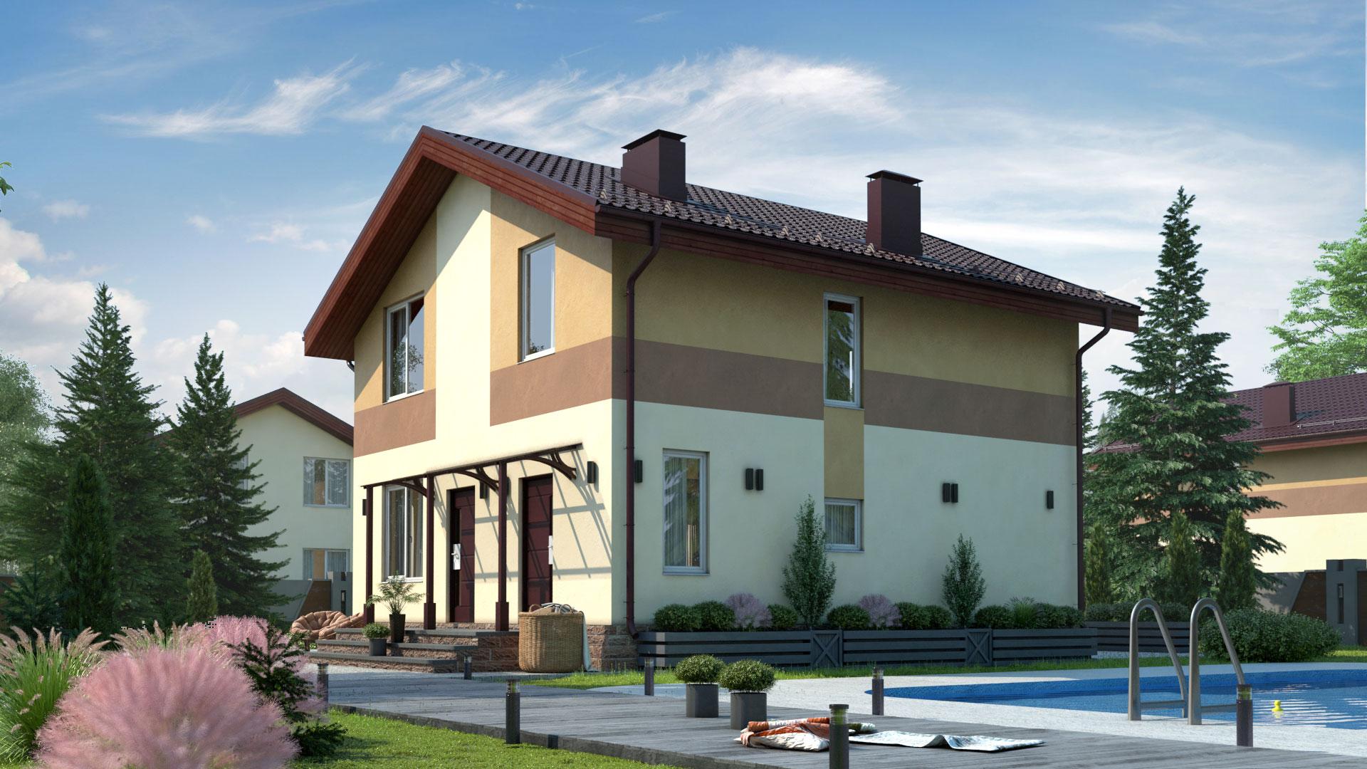 Задний фасад двухэтажного дома 8 на 9 метров. Проект БЭНПАН МС-126/1.