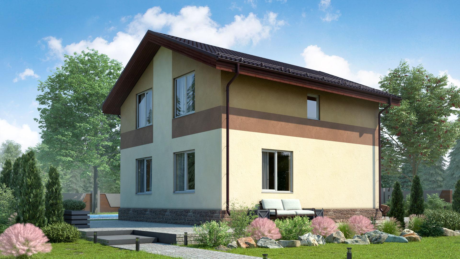 Передний фасад двухэтажного дома 8 на 9 метров. Проект БЭНПАН МС-126/1.