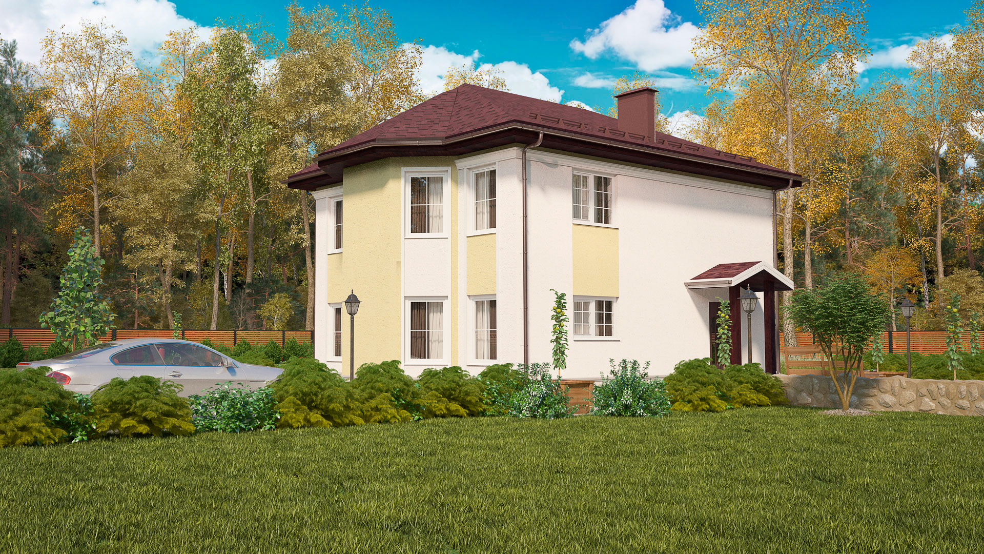Передний фасад двухэтажного дома с камином и эркером, проект БЭНПАН МС-143.