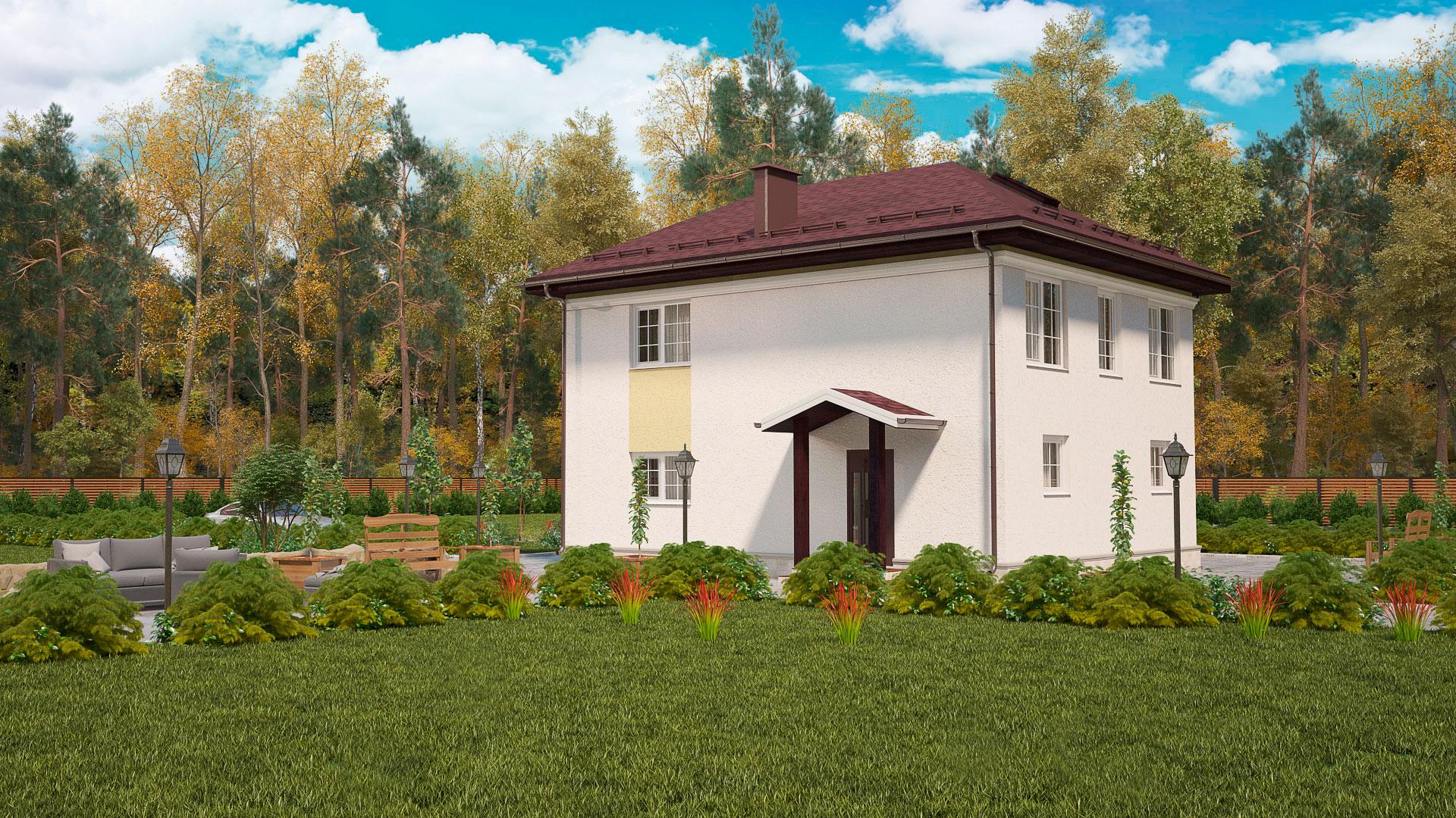 Боковой фасад двухэтажного дома с камином и эркером, проект БЭНПАН МС-143.
