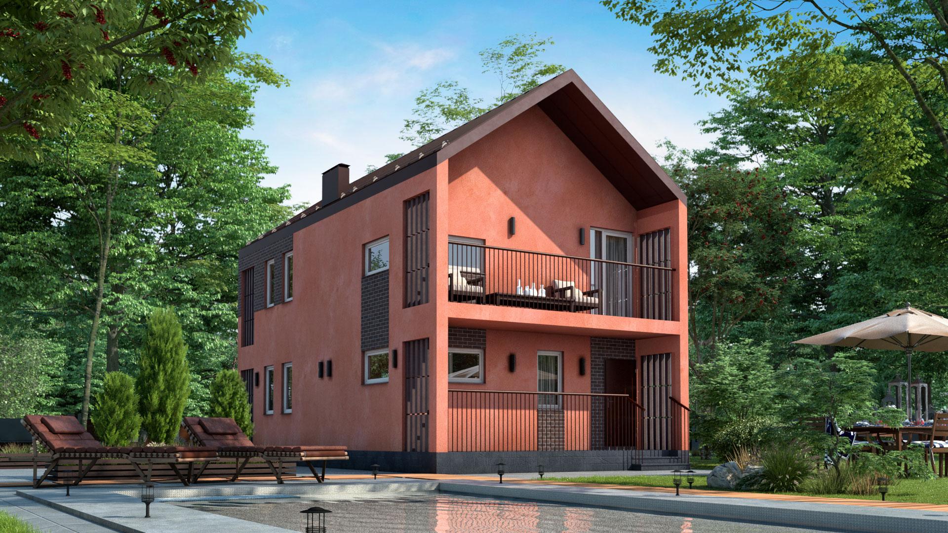 Задний фасад двухэтажного дома БЭНПАН, проект МС-144.