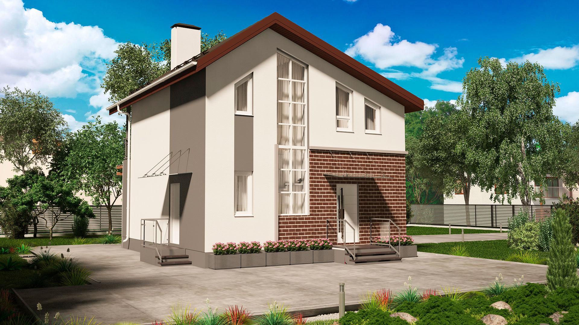Передний фасад двухэтажного дома, проект БЭНПАН МС-146/1.