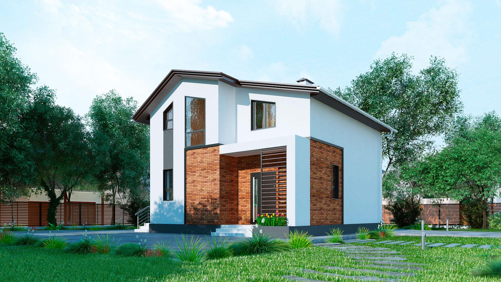 Передний фасад загородного дома 9 на 9 двухэтажного, проект БЭНПАН МС-146 В.