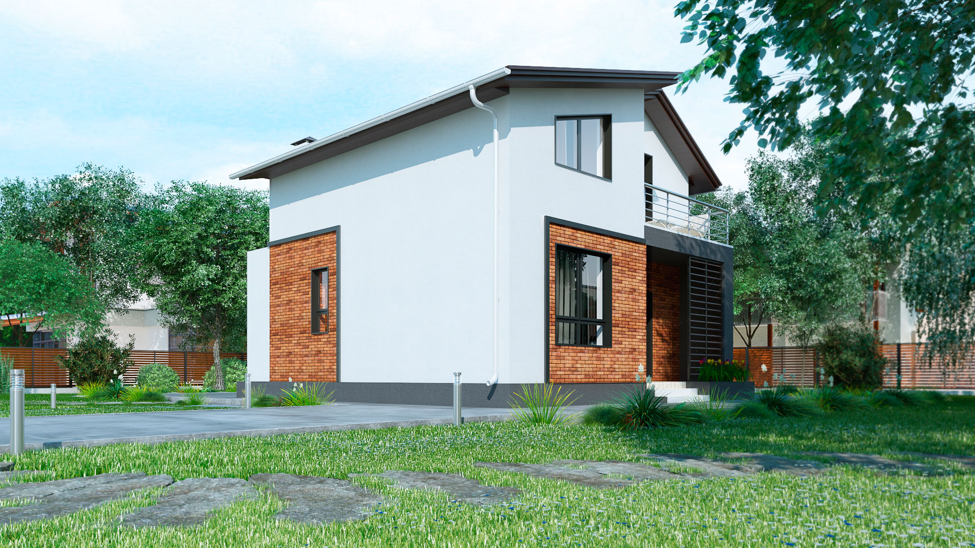 Задний фасад загородного дома 9 на 9 двухэтажного, проект БЭНПАН МС-146 В.
