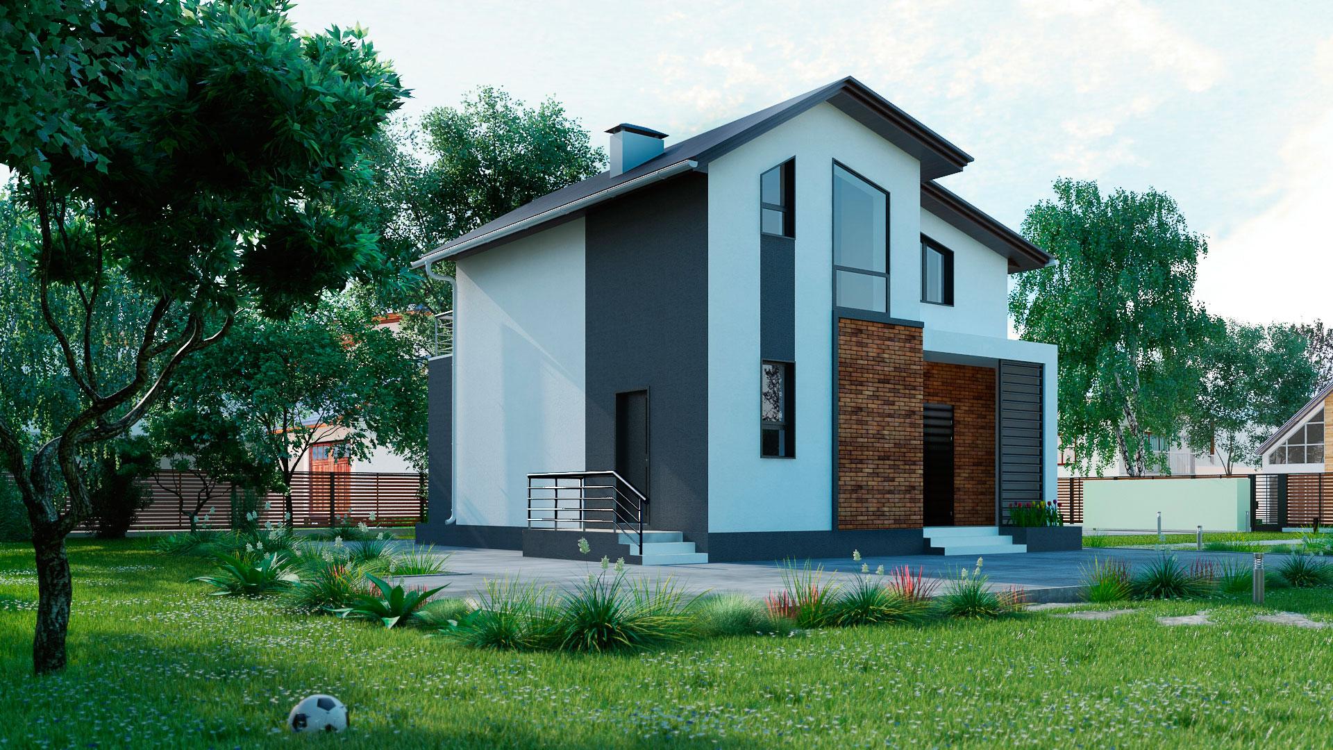 Боковой фасад загородного дома 9 на 9 двухэтажного, проект БЭНПАН МС-146 В.