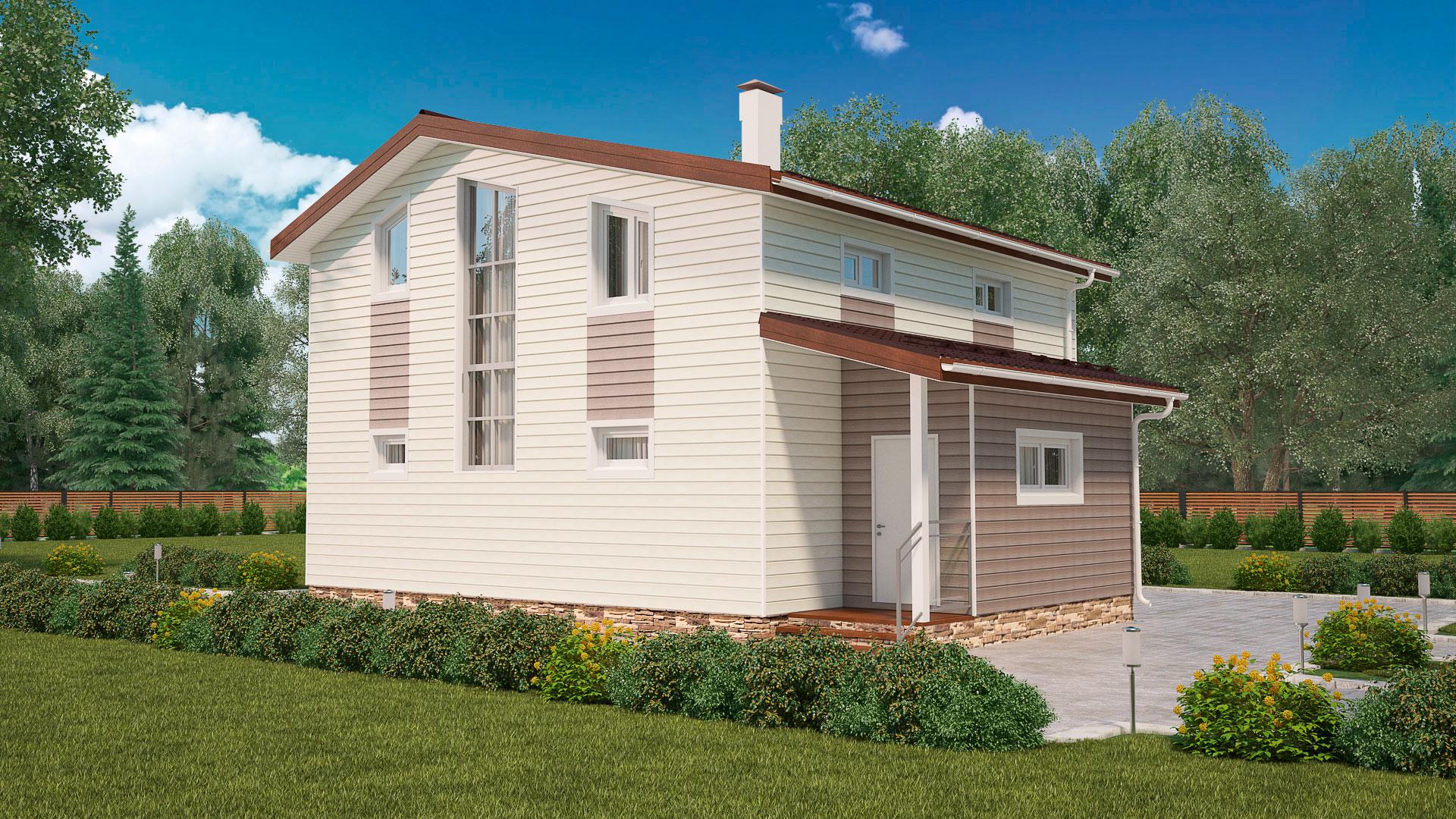 Передний и боковой фасады двухэтажного загородного дома, проект БЭНПАН МС-152.
