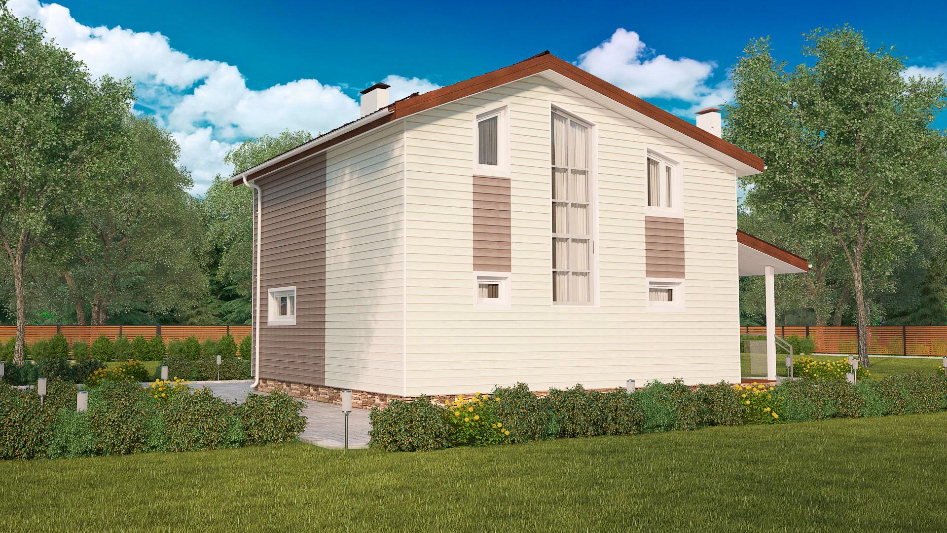 Боковой и задний фасады двухэтажного загородного дома, проект БЭНПАН МС-152.