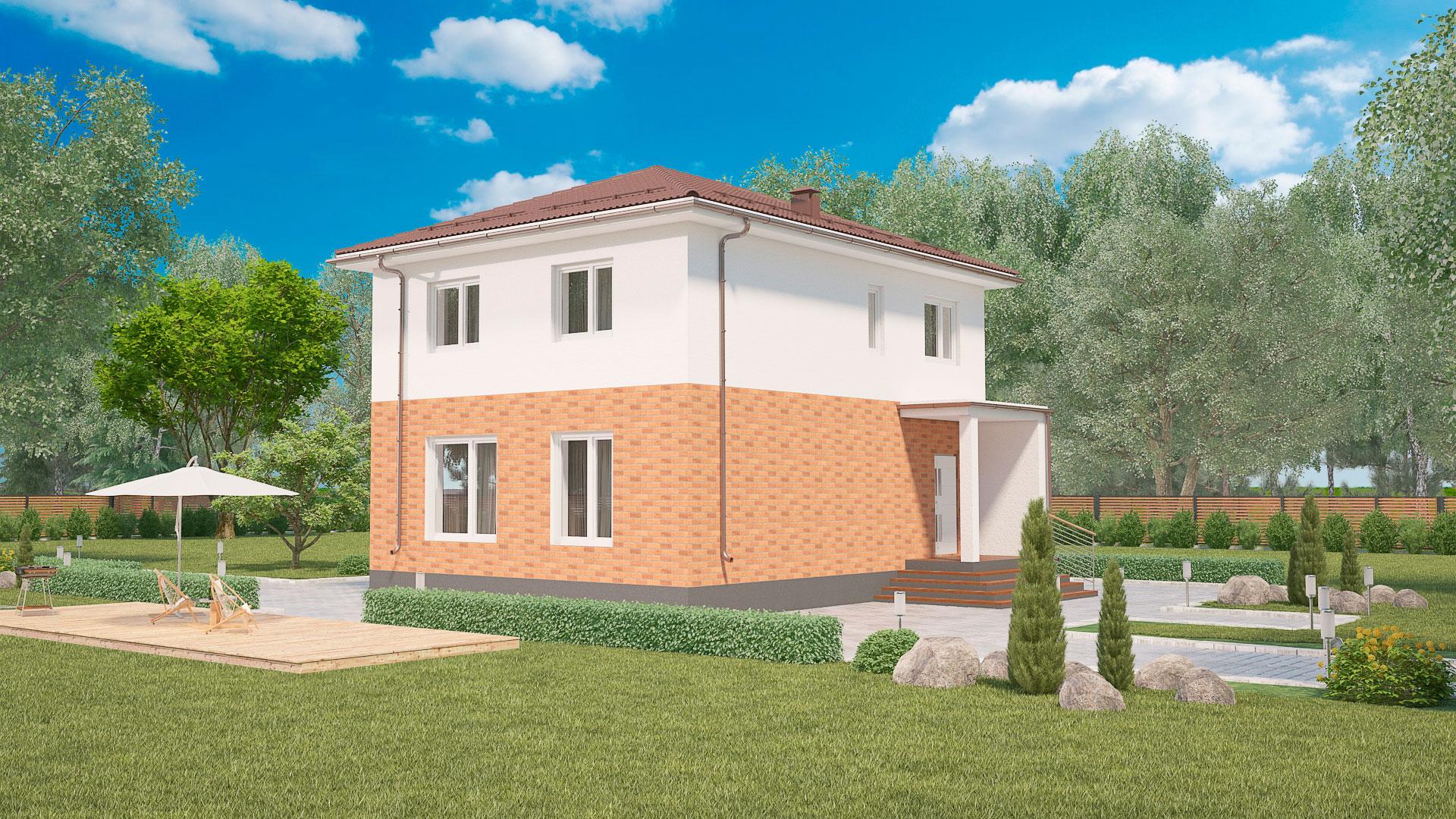 Передний фасад двухэтажного загородного дома БЭНПАН, проект МС-155.
