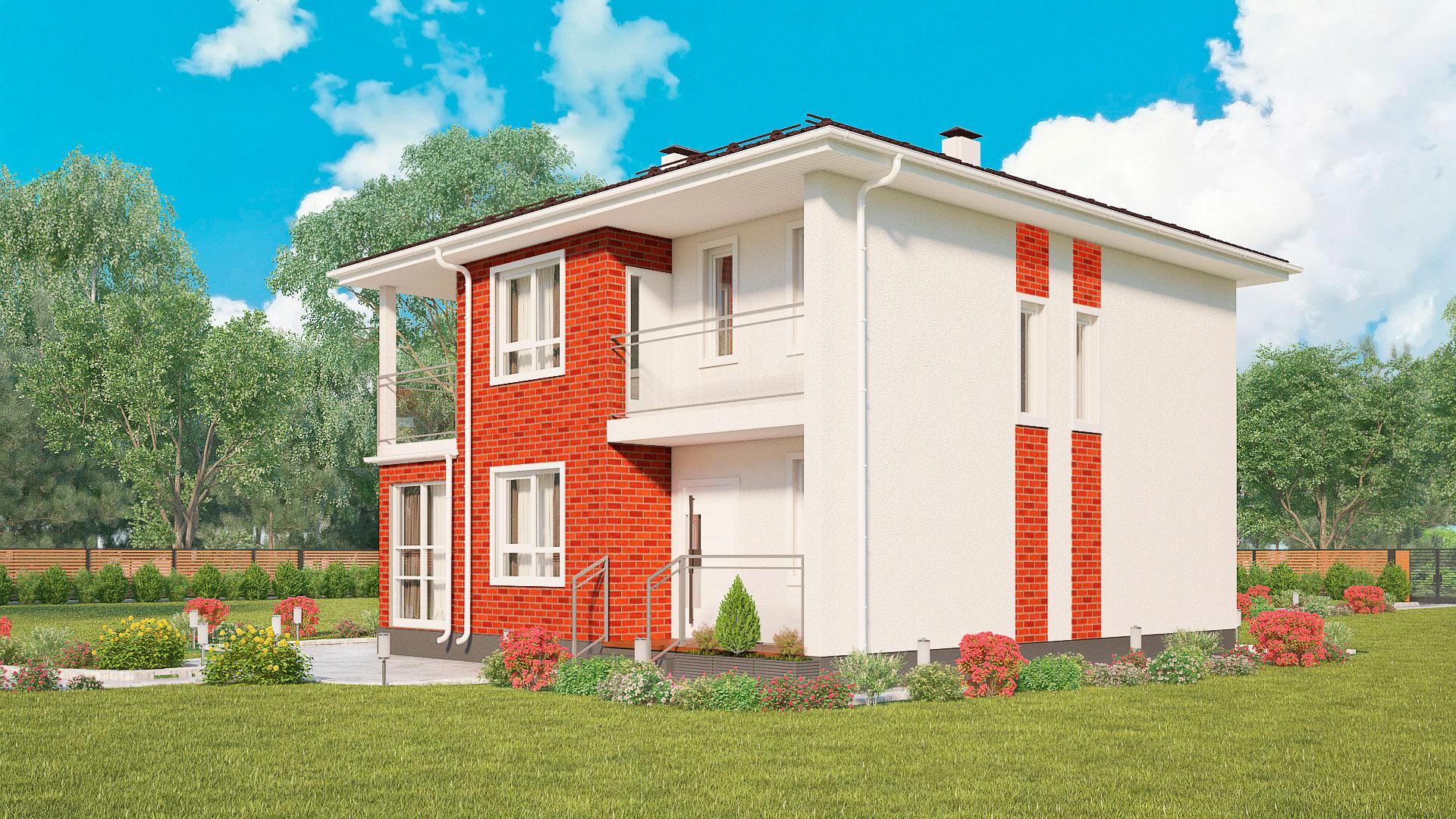 Фасад дома с эркером, двухэтажного, проект БЭНПАН МС-1601К.