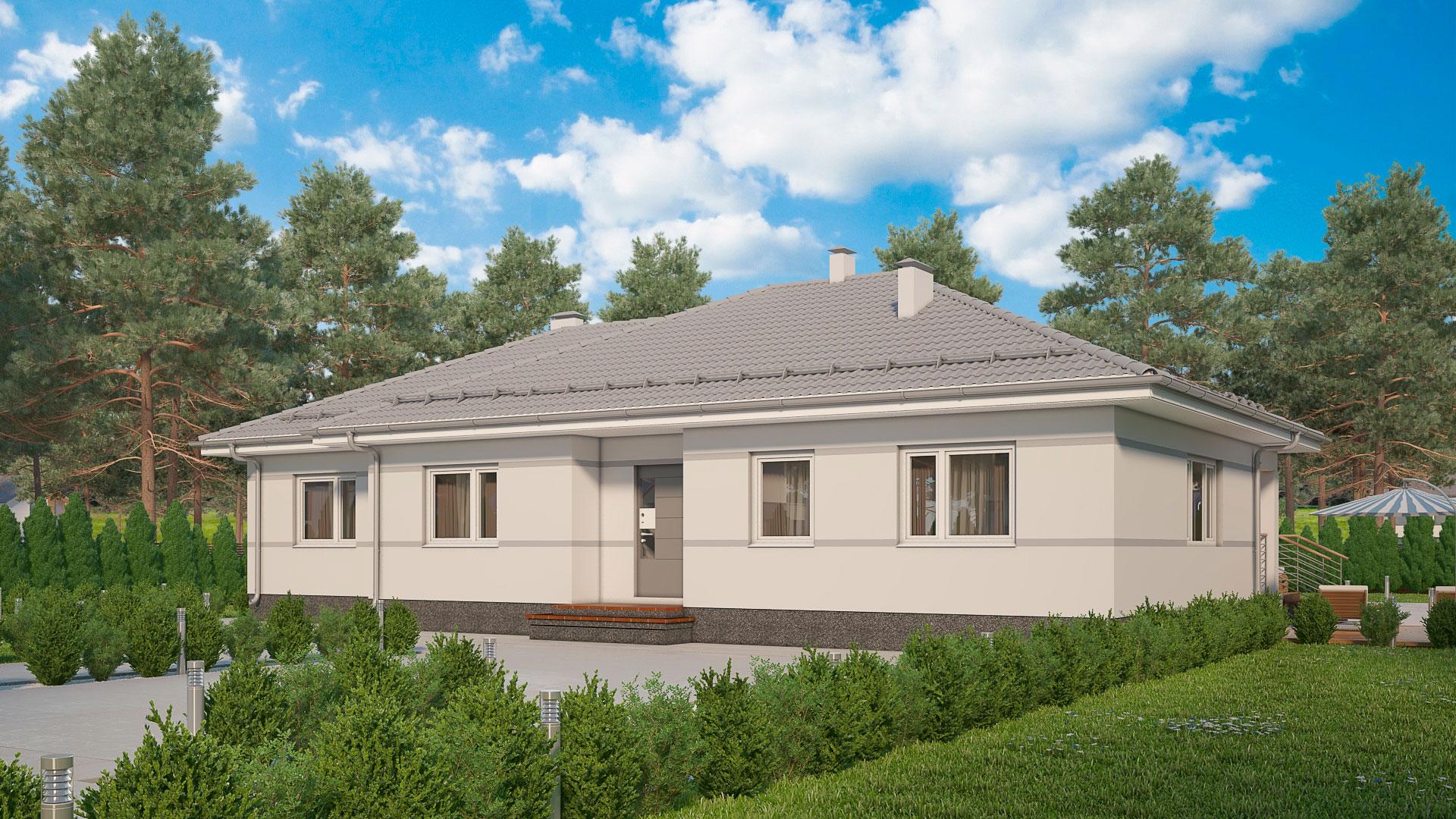 Передний фасад одноэтажного дома БЭНПАН, проект МС-162/1.