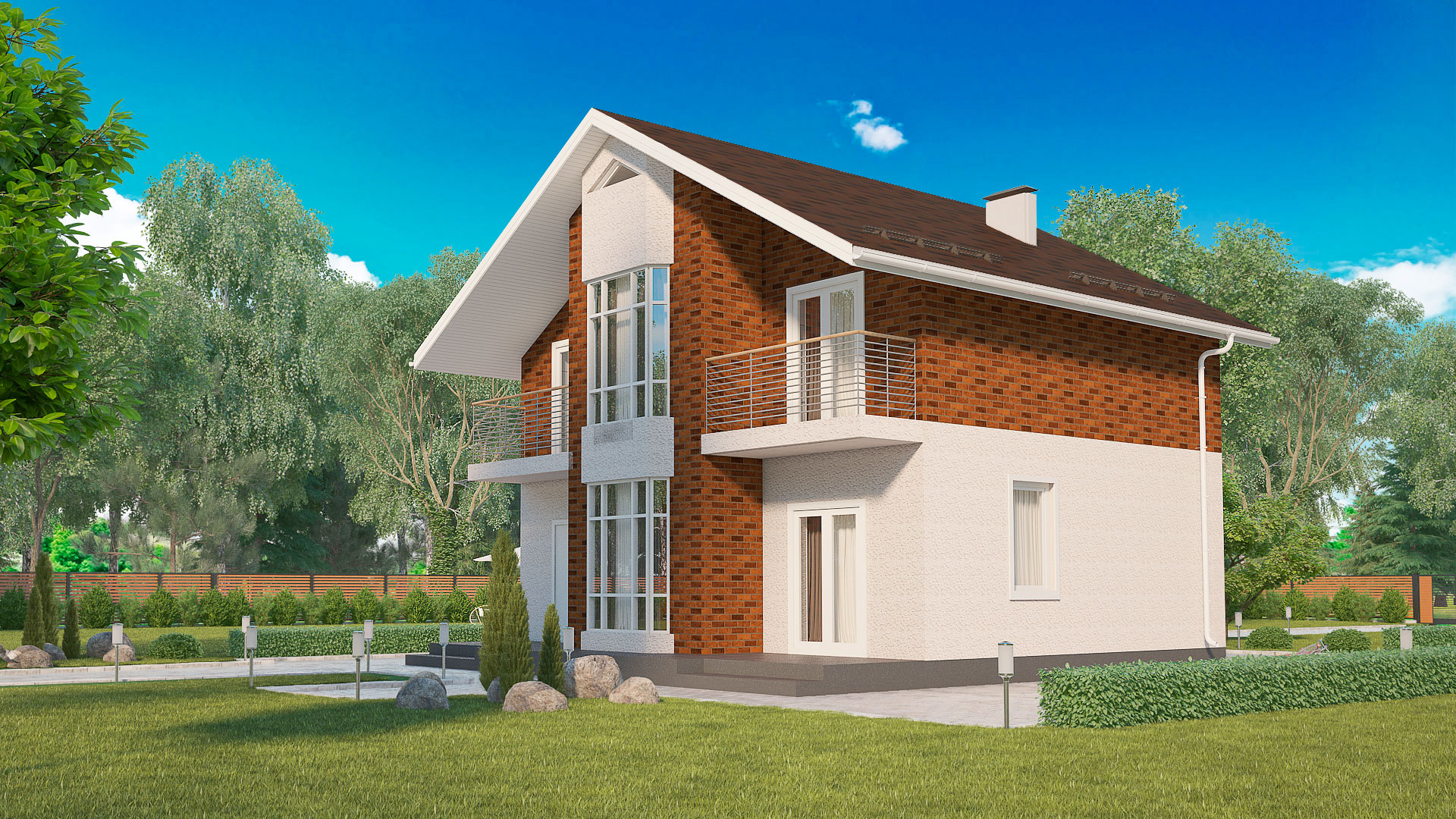 Передний и боковой фасады двухэтажного дома, проект БЭНПАН МС-164/1/К.