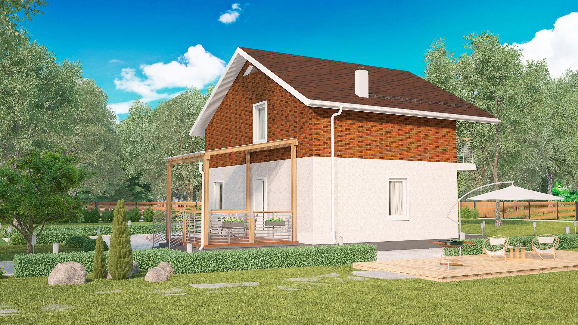 Задний фасад двухэтажного дома с террасой, проект БЭНПАН МС-164/1/К.