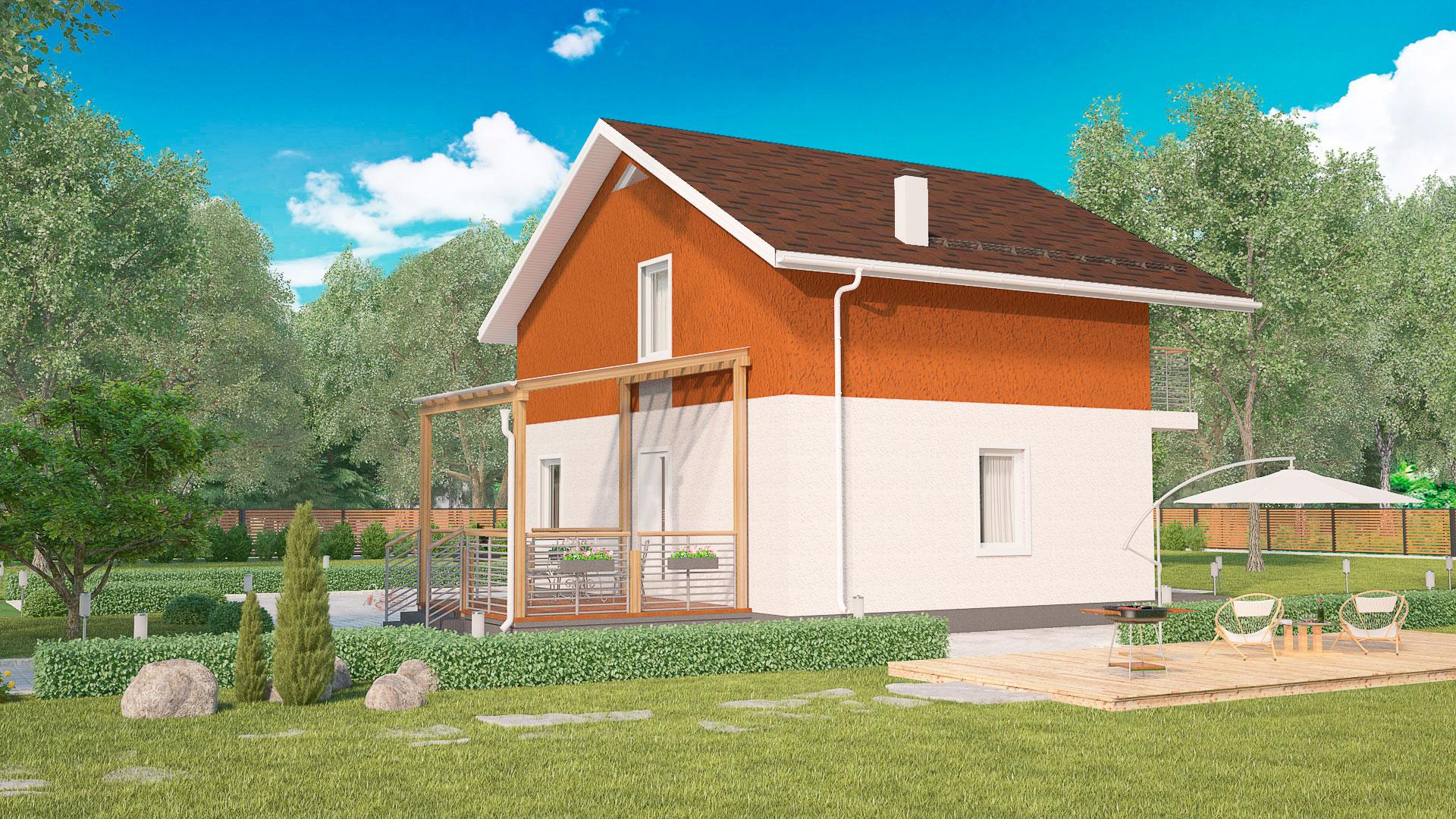 Задний фасад дома с эркером. Проект БЭНПАН МС-164.