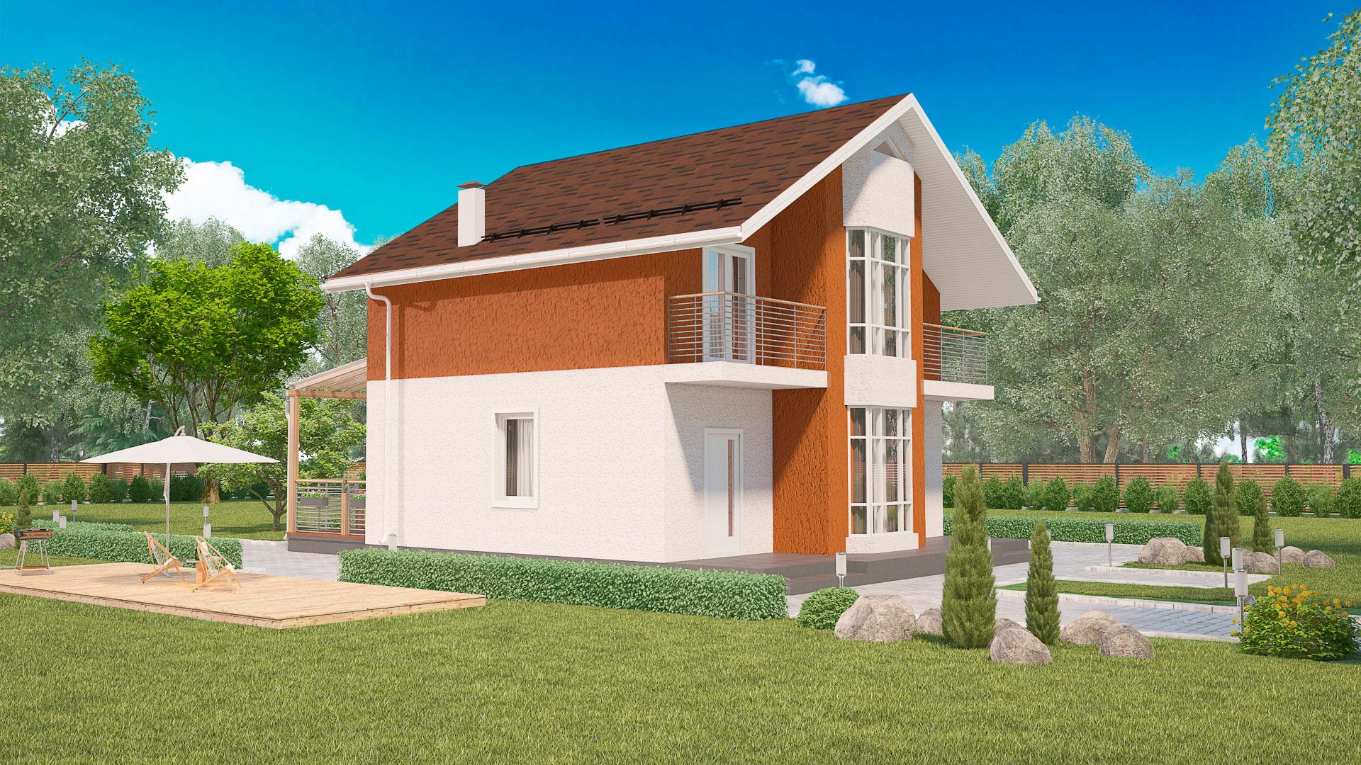 Передний фасад дома с эркером. Проект БЭНПАН МС-164.