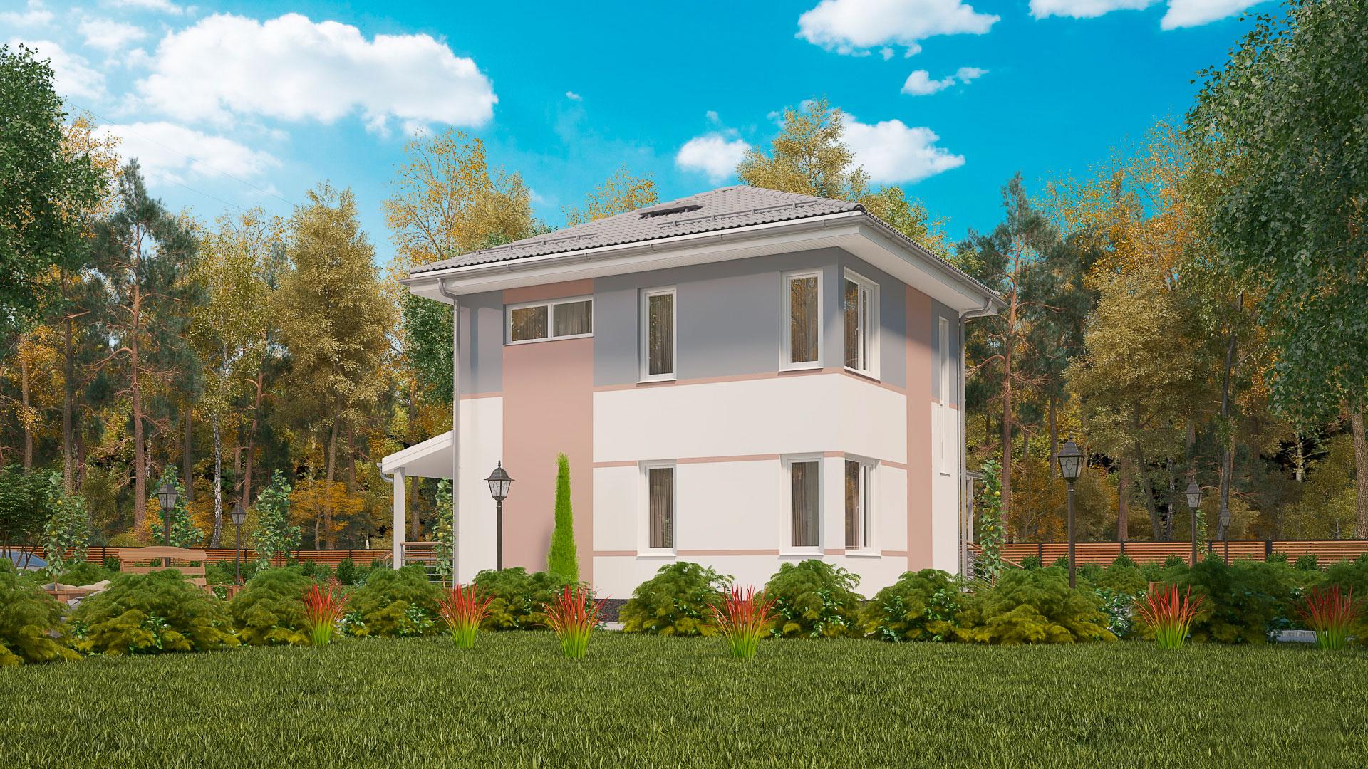 Боковой фасад двухэтажного дома БЭНПАН, проект МС-176/3.