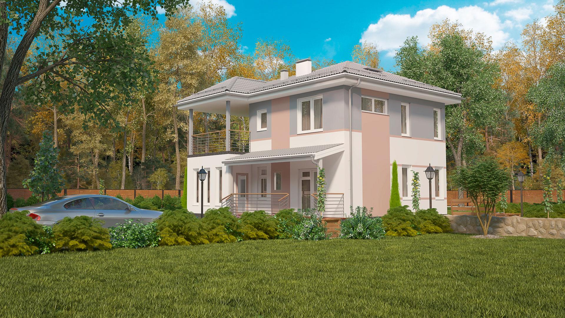 Задний фасад двухэтажного дома БЭНПАН, проект МС-176/3.