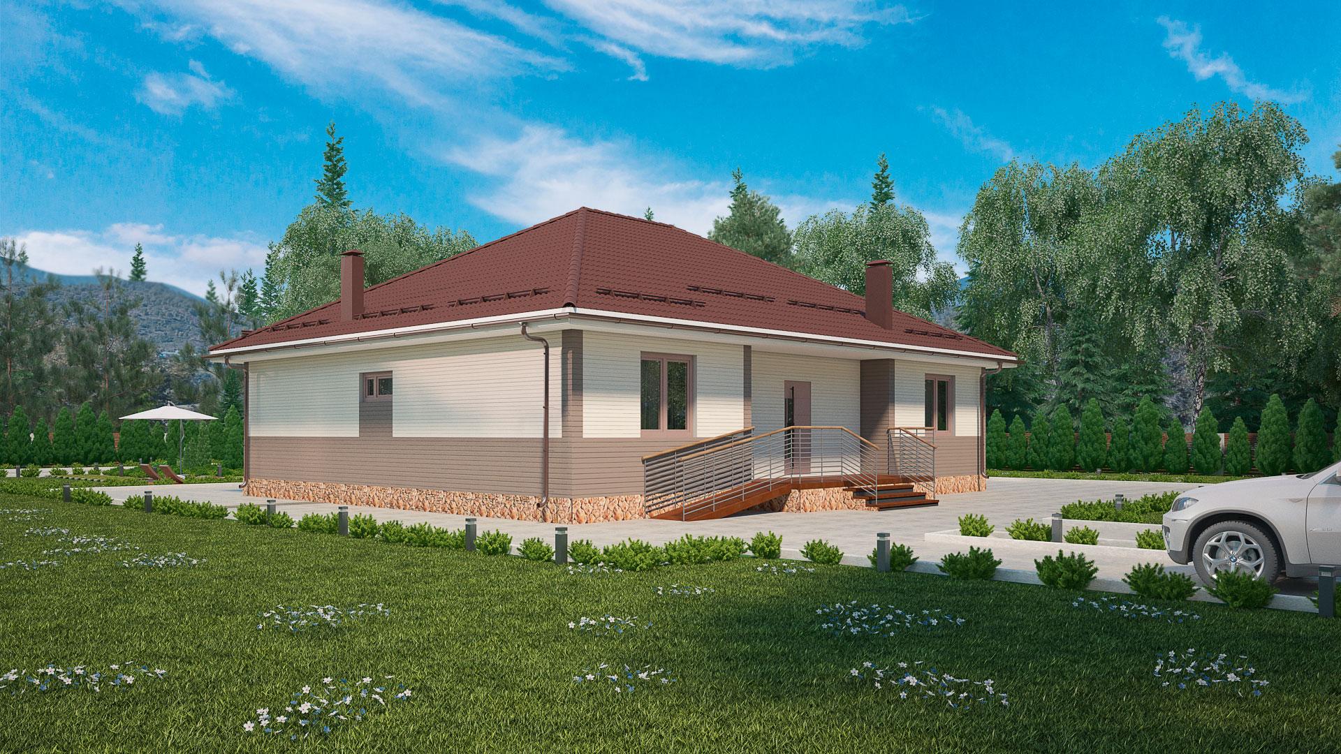 Передний фасад одноэтажного дома с верандой, проект БЭНПАН МС-178.