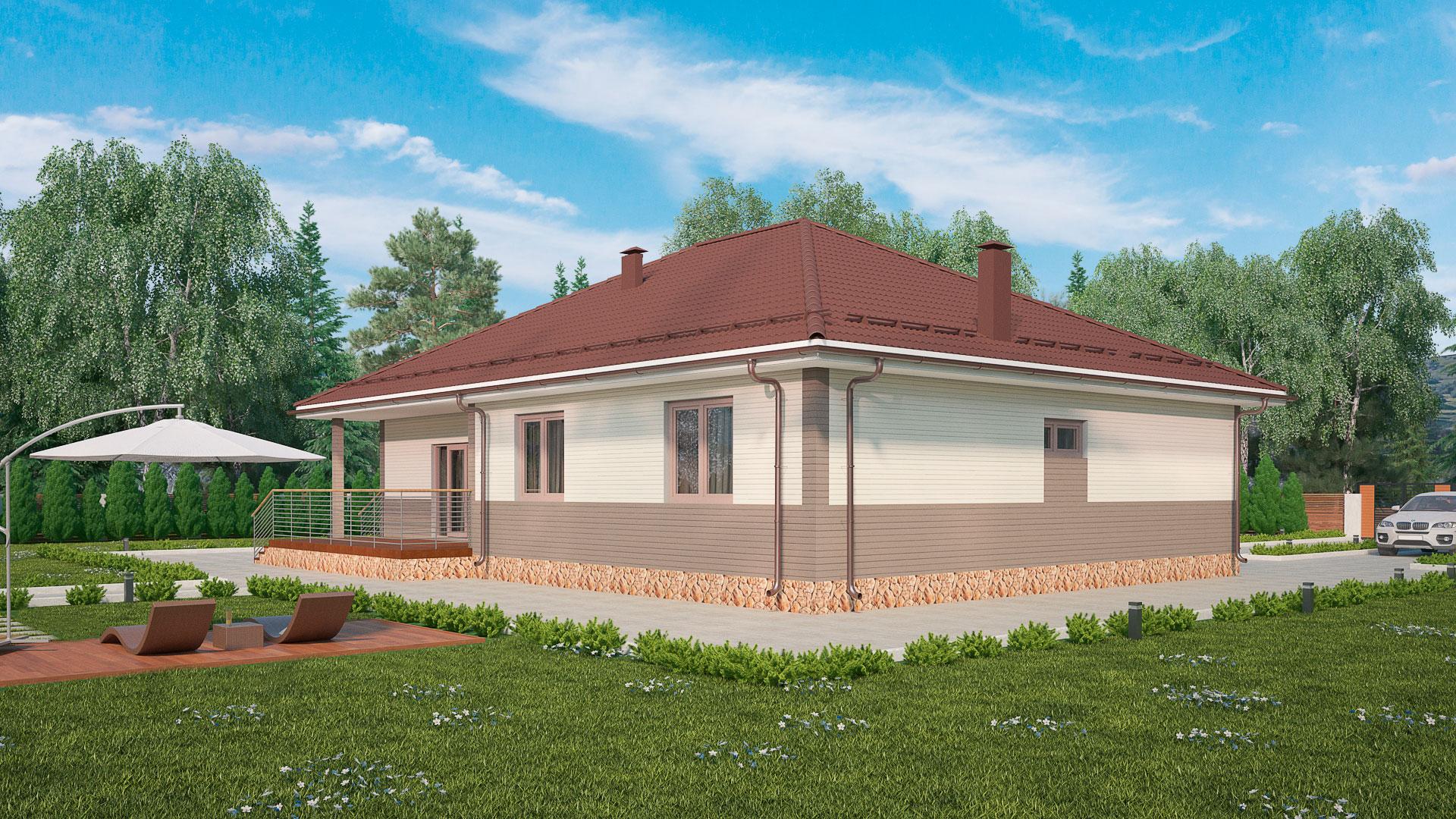 Боковой фасад одноэтажного дома с верандой, проект БЭНПАН МС-178.