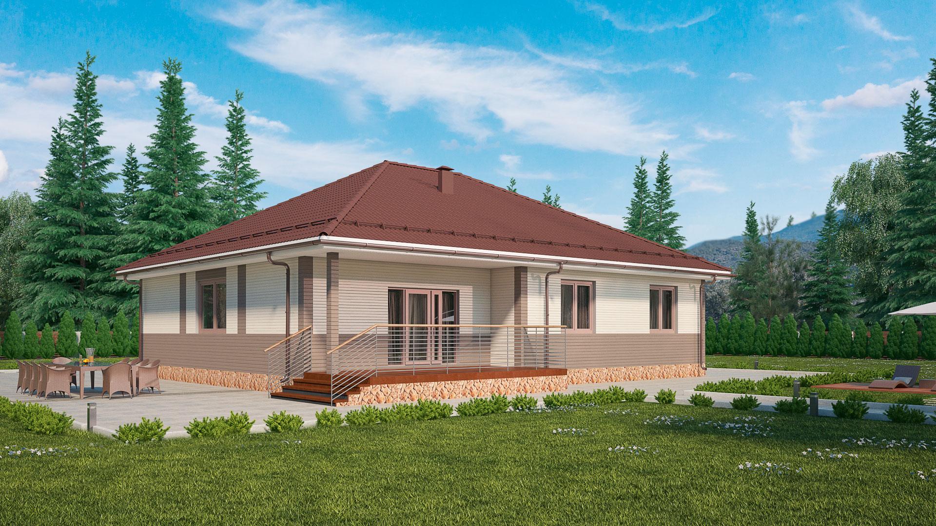 Задний фасад одноэтажного дома с верандой, проект БЭНПАН МС-178.