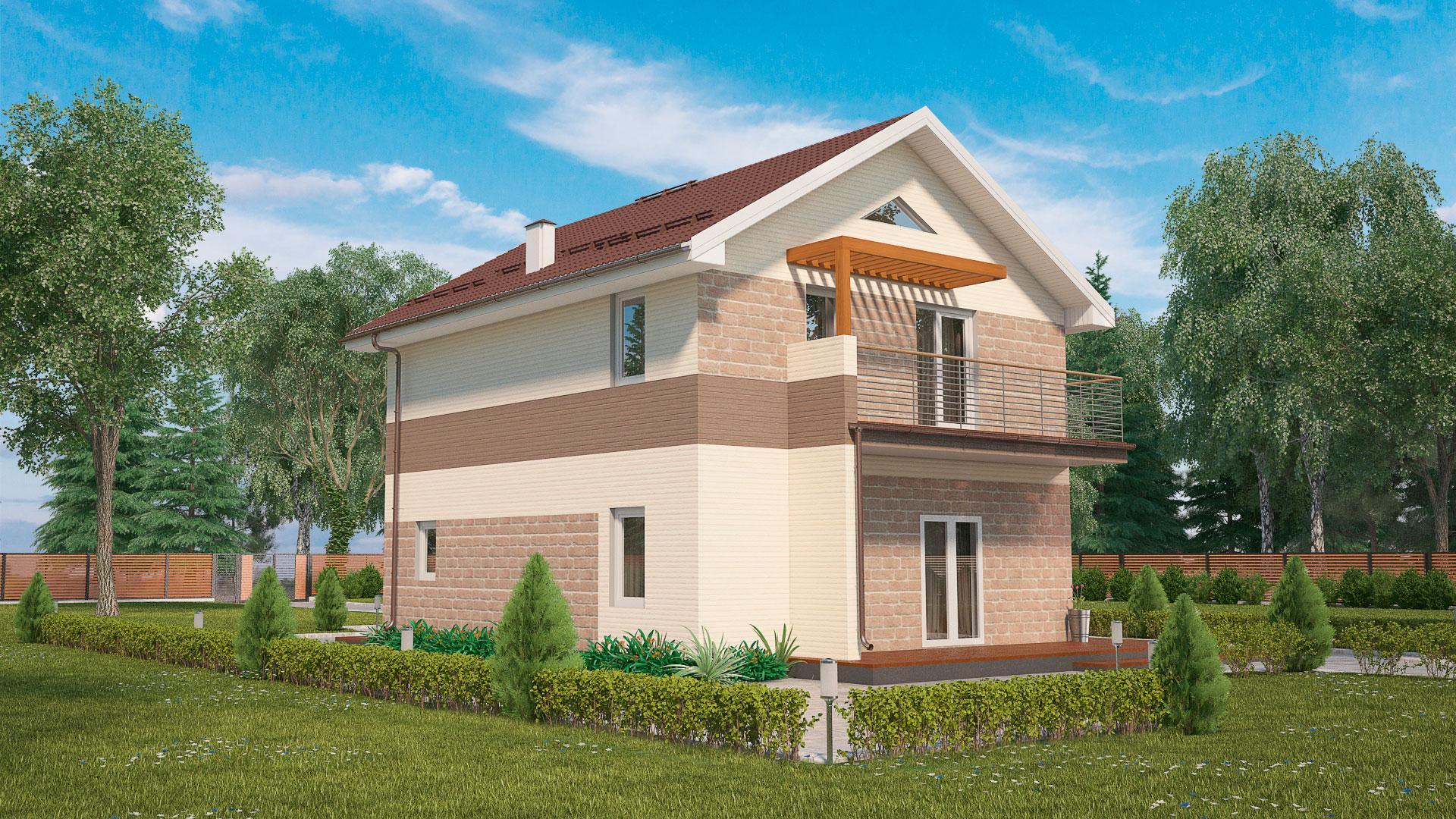 Фасад двухэтажного дома с балконами и террасой, проект БЭНПАН МС-181.