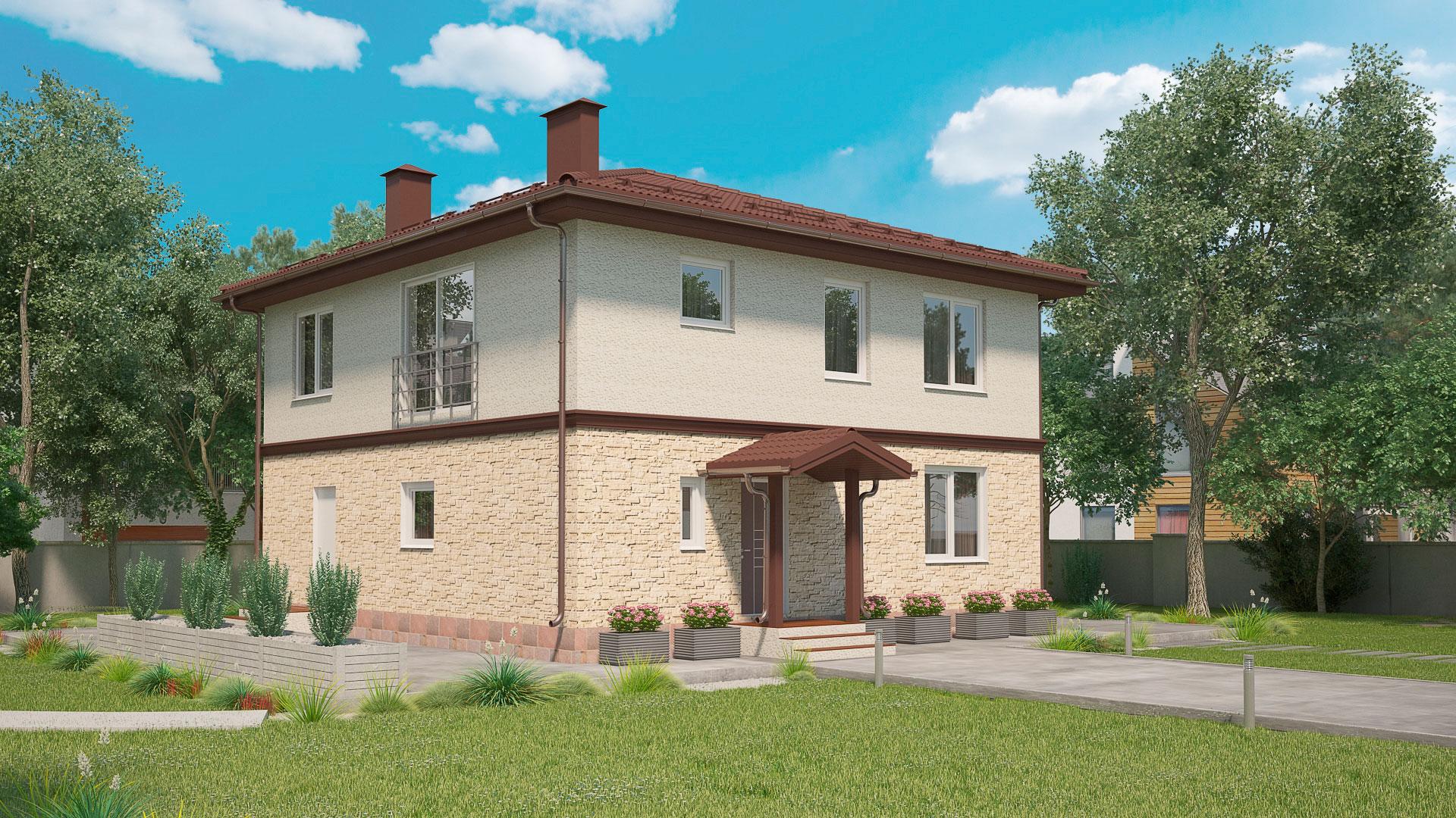 Передний фасад дома 10 на 10 двухэтажного, проект БЭНПАН МС-188.