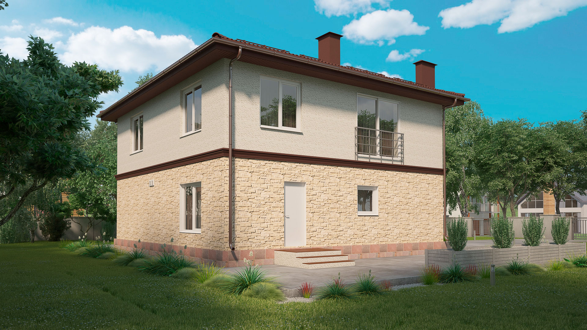 Задний фасад дома 10 на 10 двухэтажного, проект БЭНПАН МС-188.