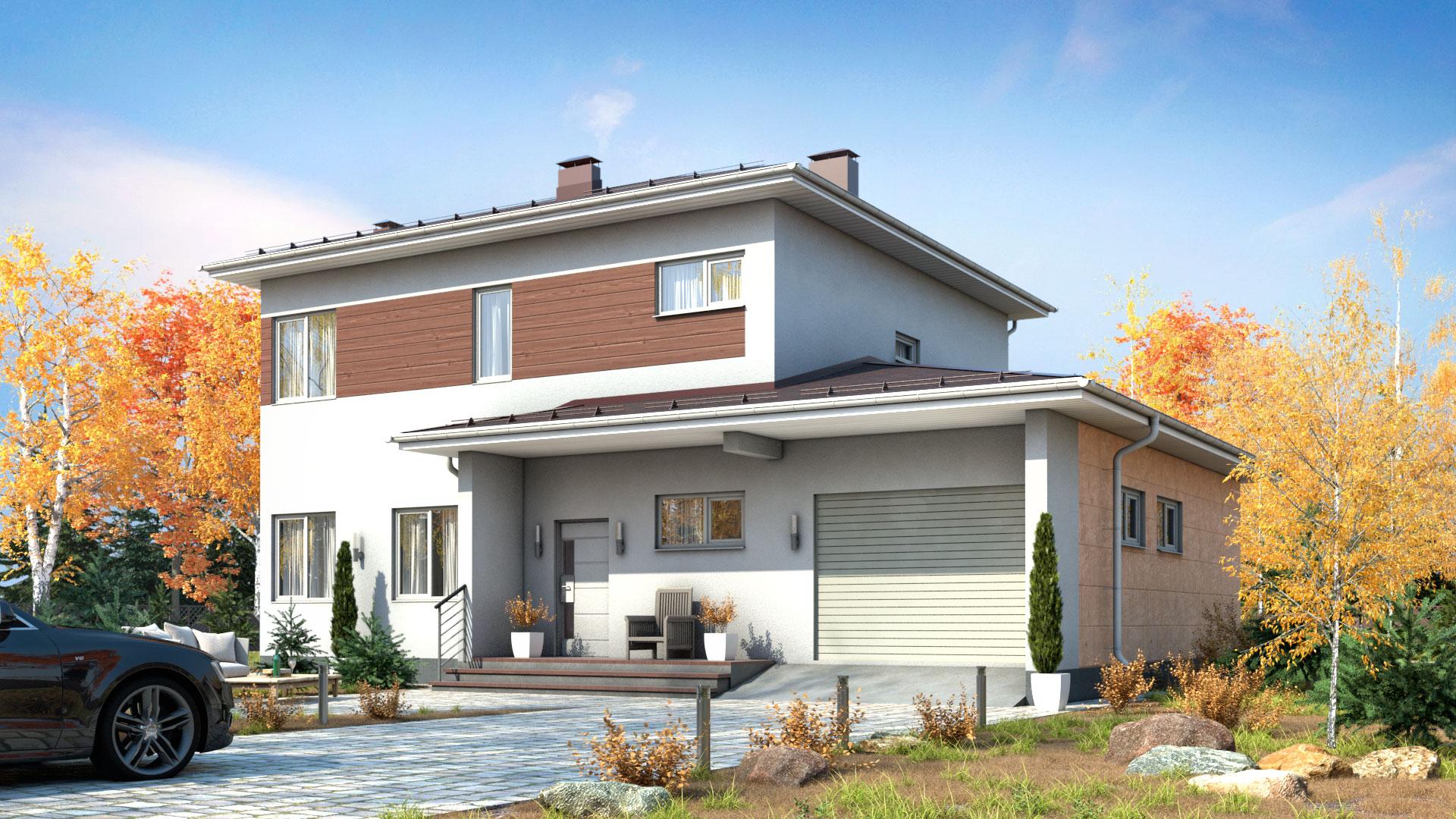 Передний фасад двухэтажного дома БЭНПАН, проект МС-189.