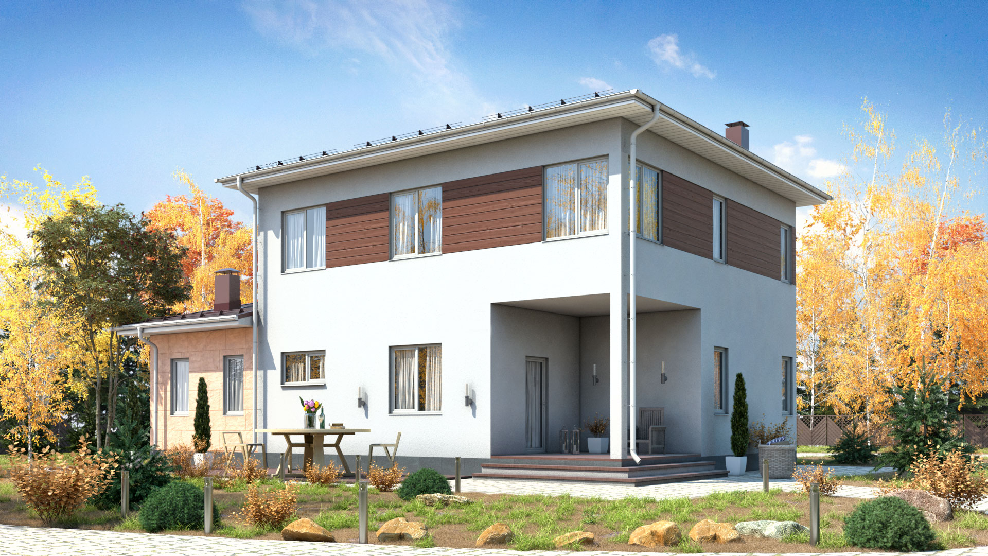 Задний фасад двухэтажного дома БЭНПАН, проект МС-189.