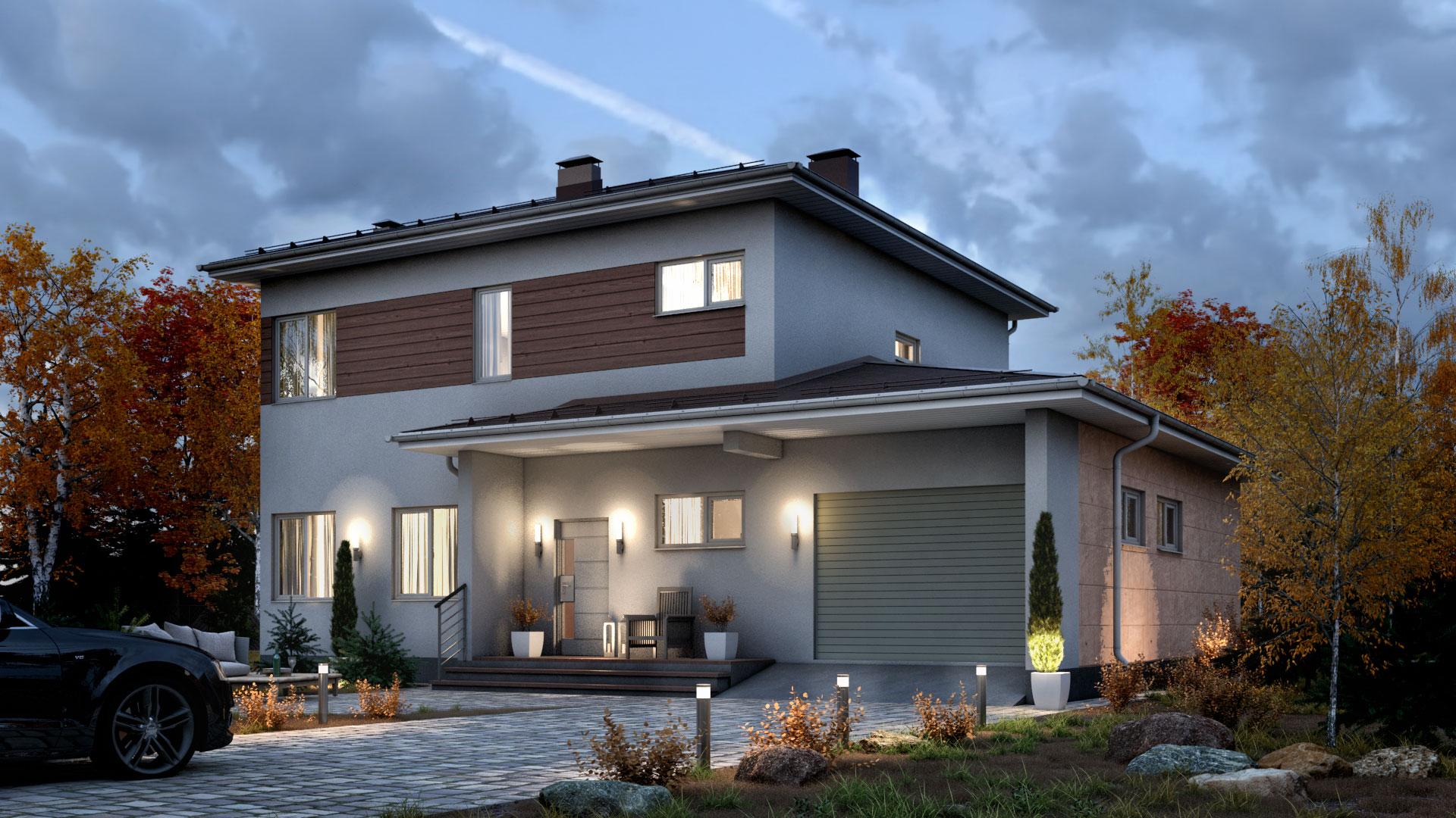 Вечернее фото двухэтажного дома БЭНПАН, проект МС-189.