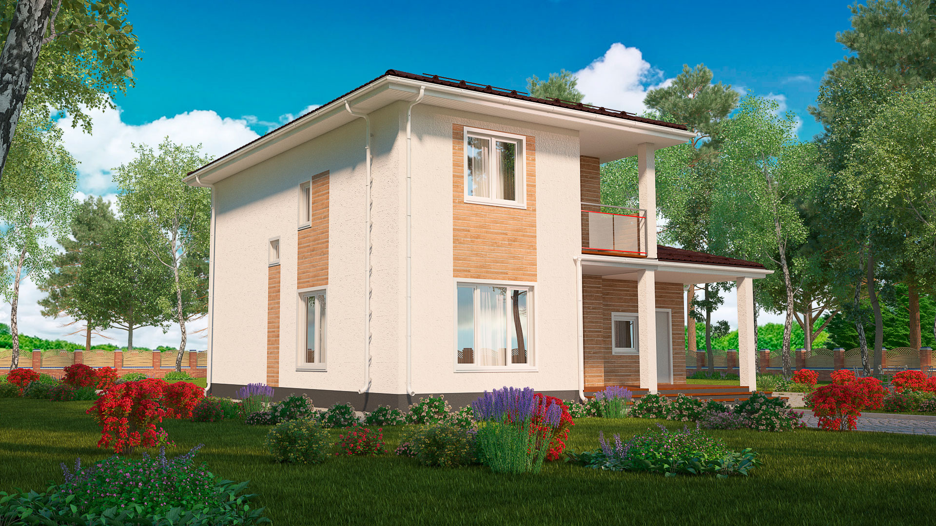 Задний фасад дома 11 на 11 двухэтажного. Проект БЭНПАН МС-191.